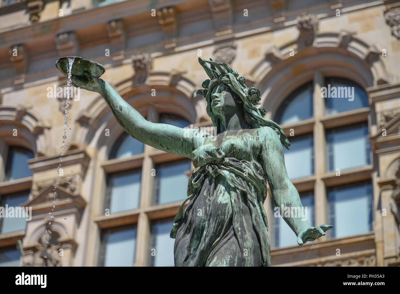 Brunnen Hamburg.Hygieia Brunnen Innenhof Rathaus Rathausmarkt Hamburg
