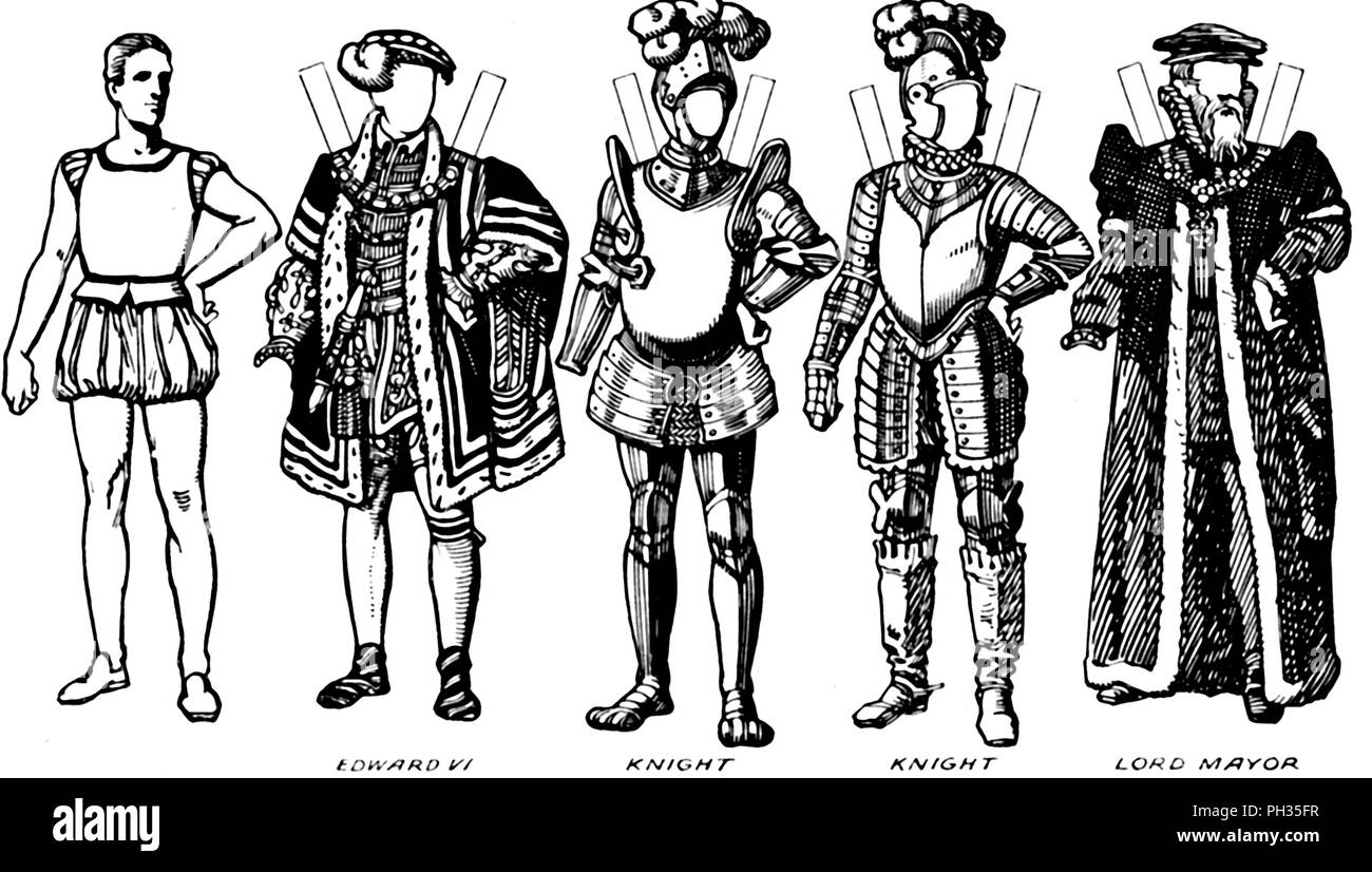 'The Gallery of Costume: Dresses Worn in the Days When Queen Mary Reigned', c1934. Illustration of costume worn towards the end of the reign of King Edward V (1547-1553 and during the reign of his sister Queen Mary I (1553-1558). Instructions are given in the accompanying text on how to trace the figures onto thin paper, paste them onto cardboard, and cut them out. Information on what colours to use is also given. From The Romance of the Nation, Volume Two, edited by Charles Ray. [The Amalgamated Press, Ltd., London, c1934] - Stock Image