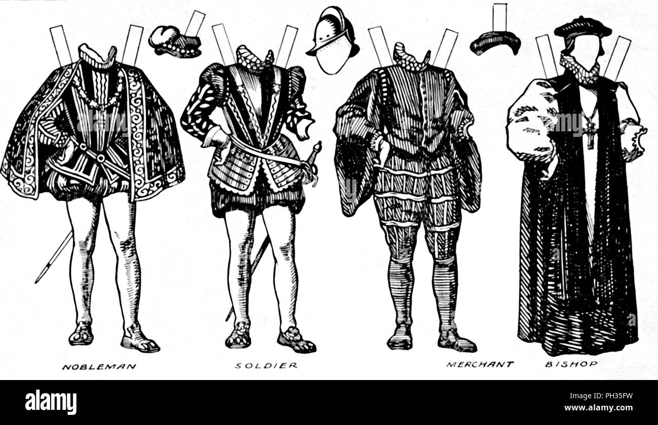 'The Great Gallery of Costume: Varied Dresses Worn in the Days of Elizabeth', c1934. Illustration of costume worn during the reign of Queen Elizabeth I (1558-1603). Instructions are given in the accompanying text on how to trace the figures onto thin paper, paste them onto cardboard, and cut them out. Information on what colours to use is also given. From The Romance of the Nation, Volume Two, edited by Charles Ray. [The Amalgamated Press, Ltd., London, c1934] - Stock Image