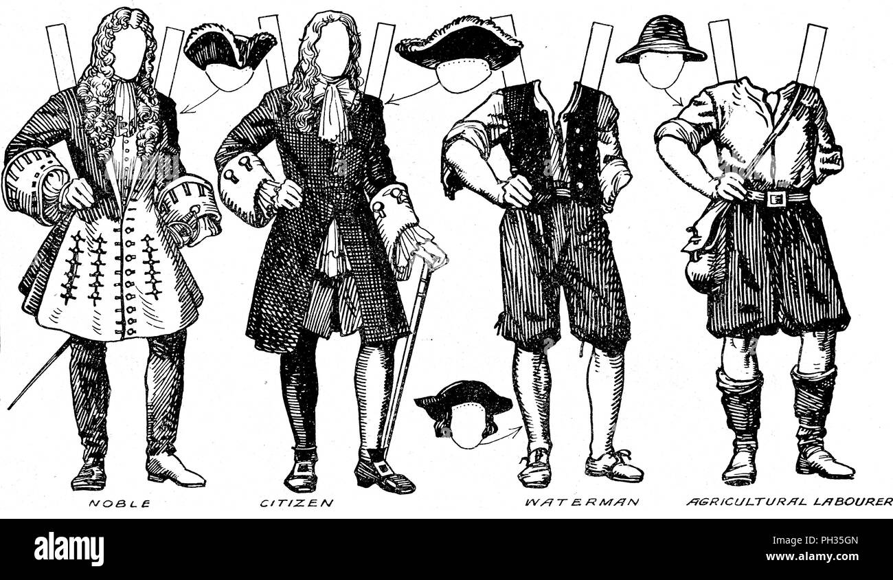 'The Gallery of English Costume: Some of the Dresses Worn in William III's Time', c1934. Illustration of costume during the reign of William III (1689-1702). Instructions are given in the accompanying text on how to trace the figures onto thin paper, paste them onto cardboard, and cut them out. Information on what colours to use is also given. From The Romance of the Nation, Volume Two, edited by Charles Ray. [The Amalgamated Press, Ltd., London, c1934] - Stock Image