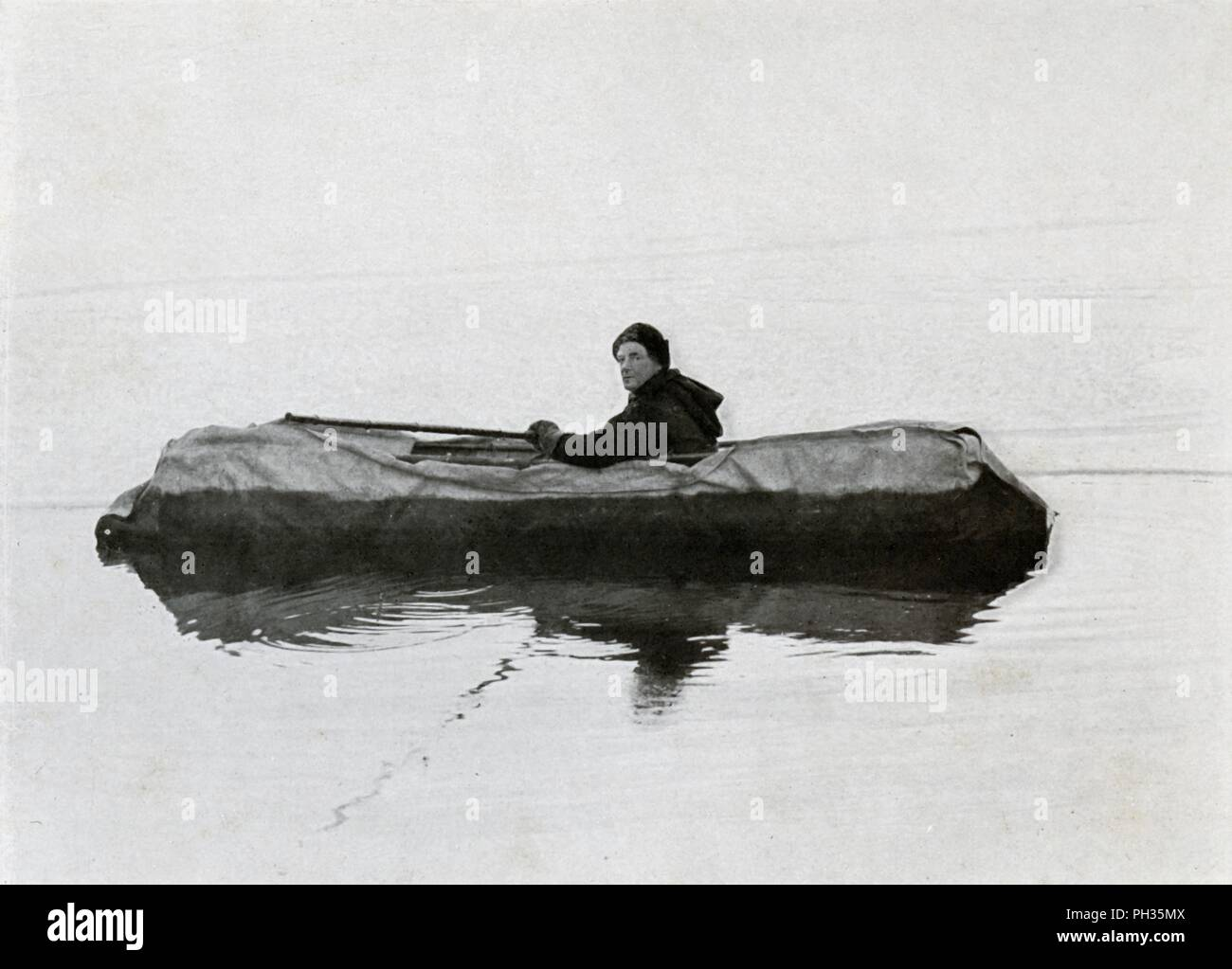 'Campbell Afloat in a Kayak', 1911, (1913). Canvas sledge boat nicknamed the 'Great Western', invented by Lieutenant Victor Campbell. The final expedition of British Antarctic explorer Captain Robert Falcon Scott (1868-1912) left London on 1 June 1910 bound for the South Pole. The Terra Nova Expedition, officially the British Antarctic Expedition (1910-1913), included a geologist, a zoologist, a surgeon, a photographer, an engineer, a ski expert, a meteorologist and a physicist among others. Scott wished to continue the scientific work that he had begun when leading the Discovery Expedition to - Stock Image