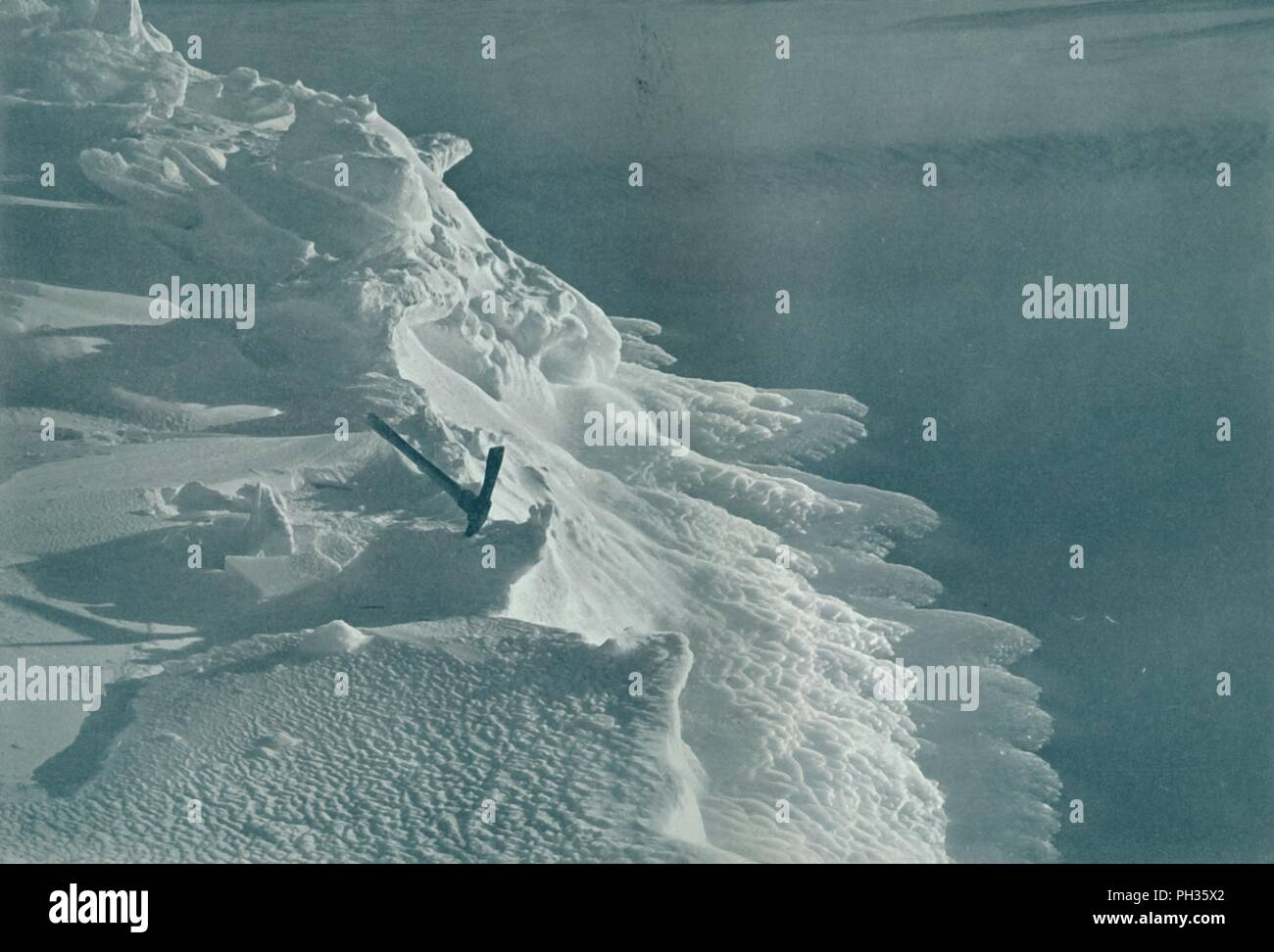 'Growing Ice-Foot, Cape Evans', c1911, (1913). The final expedition of British Antarctic explorer Captain Robert Falcon Scott (1868-1912) left London on 1 June 1910 bound for the South Pole. The Terra Nova Expedition, officially the British Antarctic Expedition (1910-1913), included a geologist, a zoologist, a surgeon, a photographer, an engineer, a ski expert, a meteorologist and a physicist among others. Scott wished to continue the scientific work that he had begun when leading the Discovery Expedition to the Antarctic in 1901-04. He also wanted to be the first to reach the geographic South - Stock Image