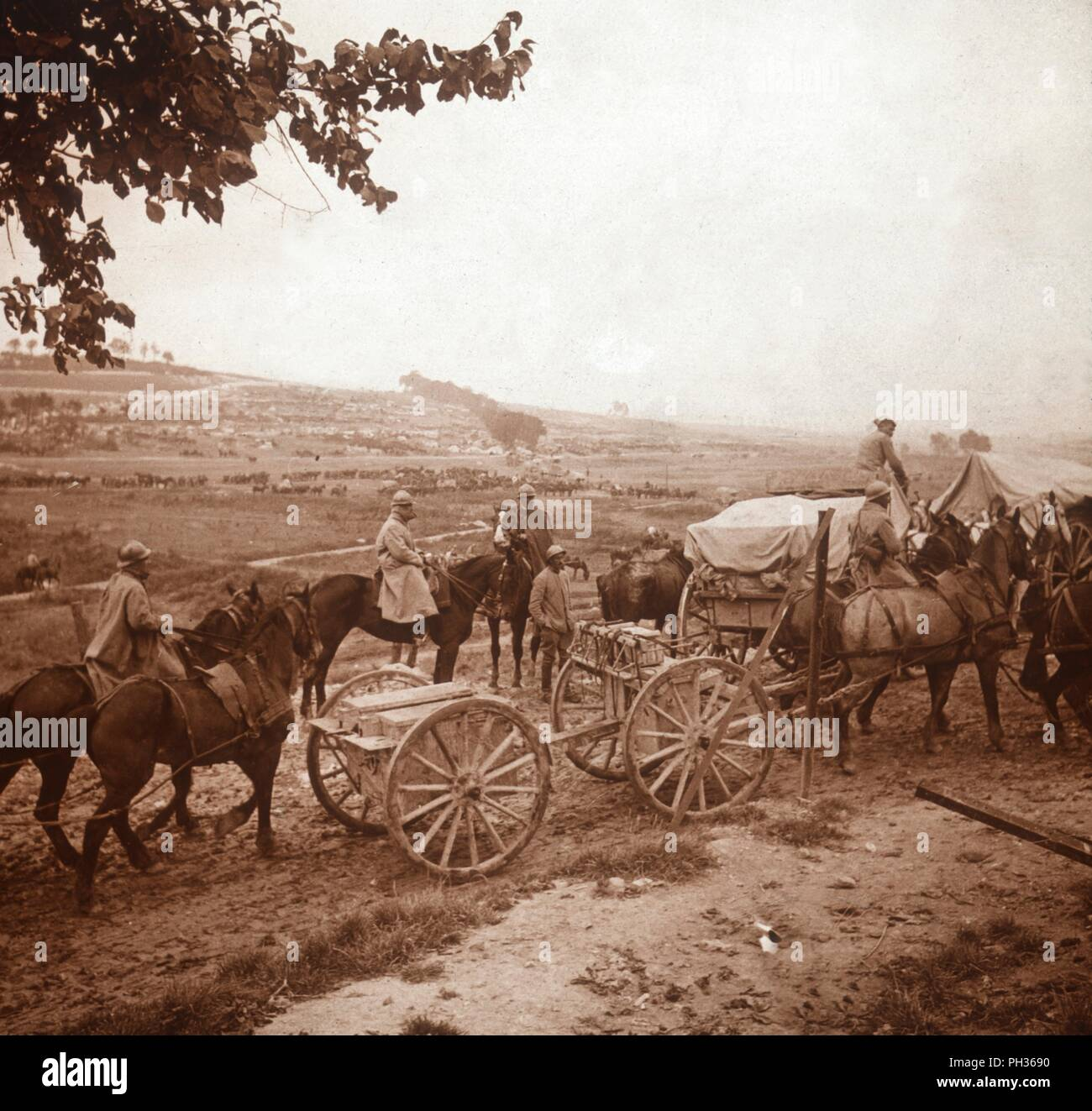 Convoy, Genicourt, northern France, 1916. Photograph from a series of glass plate stereoview images depicting scenes from World War I (1914-1918). - Stock Image