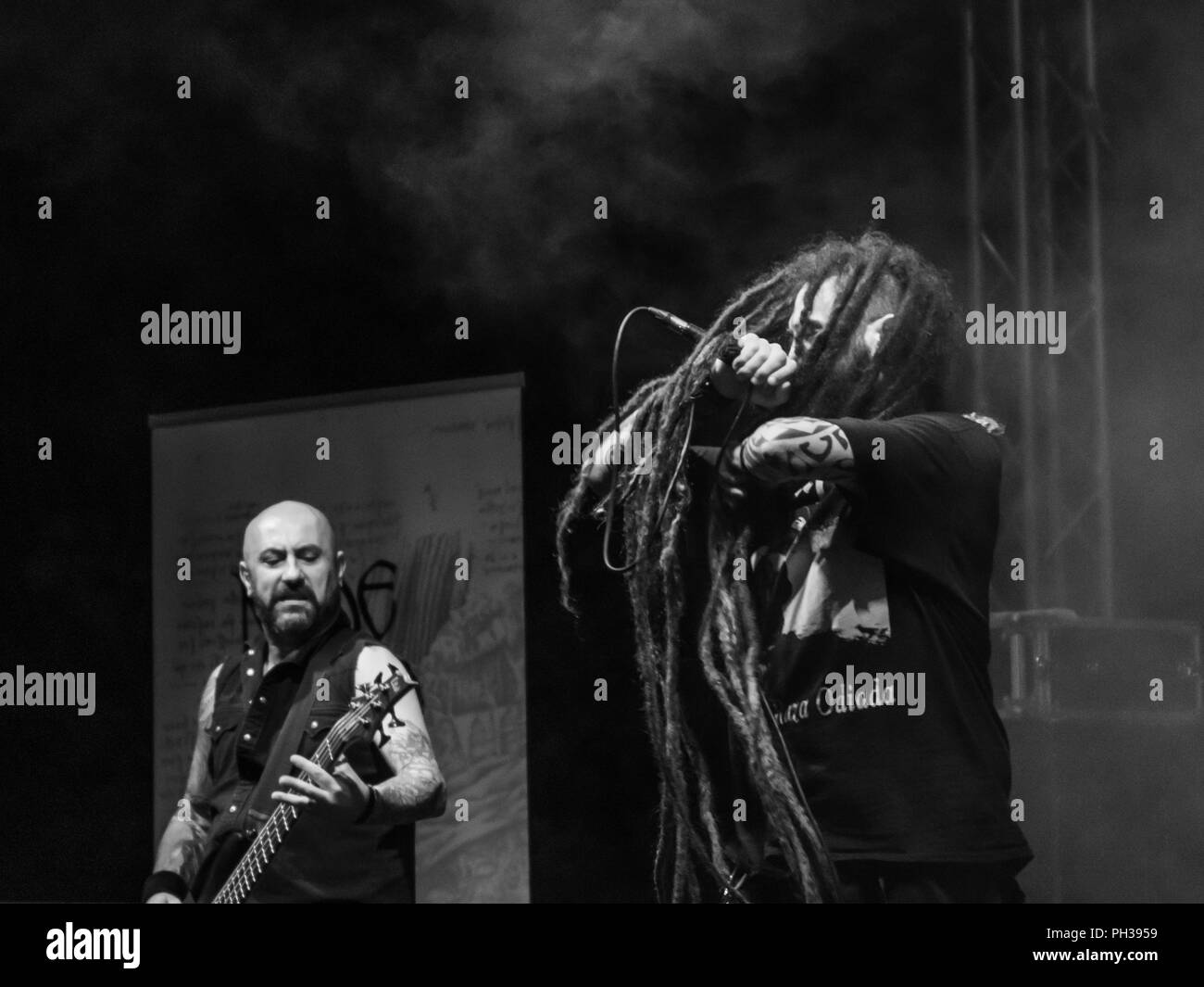 Bergamo, Italy - August 26, 2018: Italian Thrash-Death Metal band Node performs at Pollo Metal Fest at Spazio Polaresco (BG). Brambilla Simone Live Ne - Stock Image
