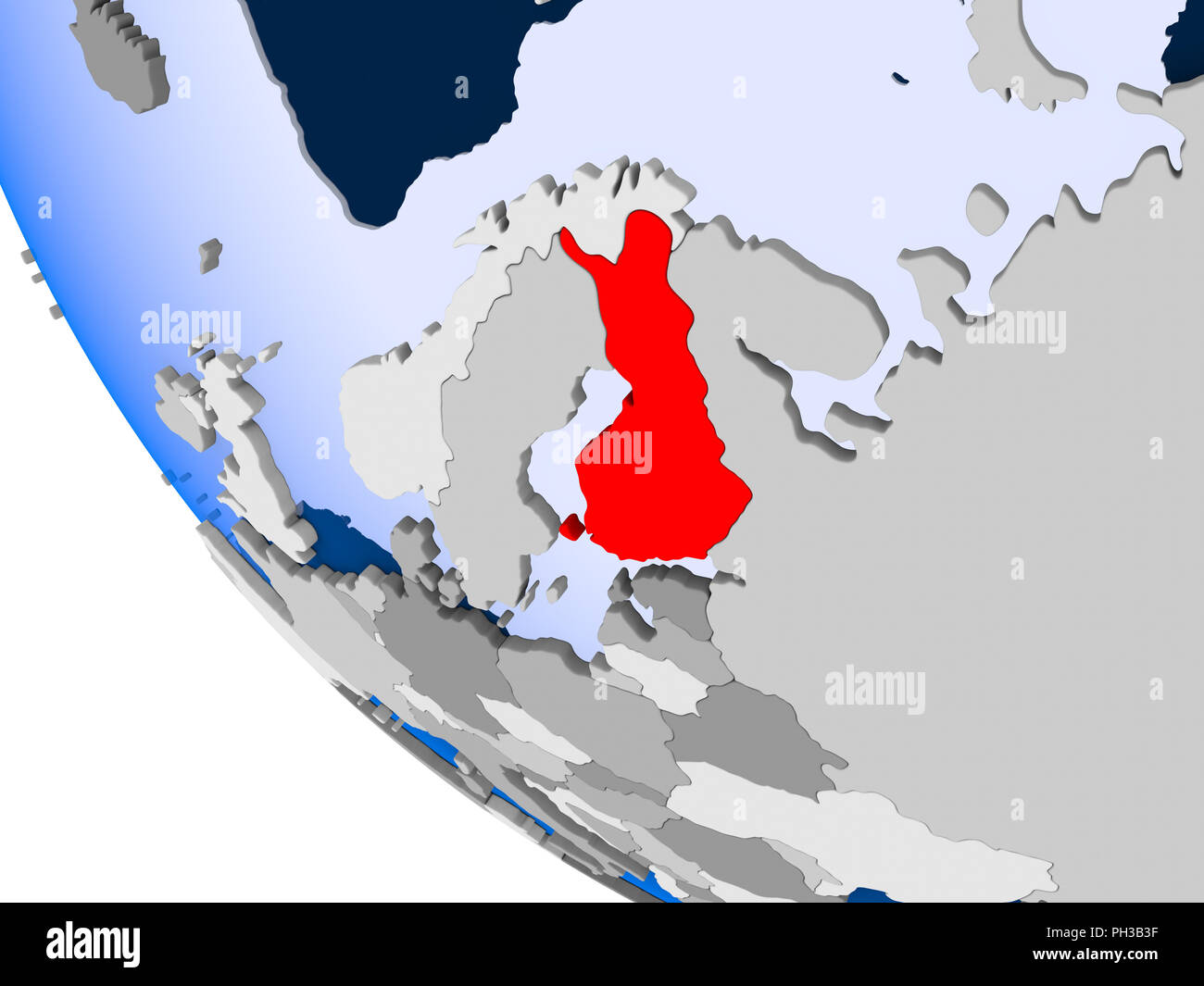 Map Of Finland In Red On Political Globe With Transparent Oceans