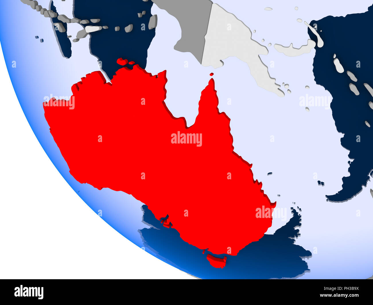 Australia Map Oceans.Map Of Australia In Red On Political Globe With Transparent Oceans