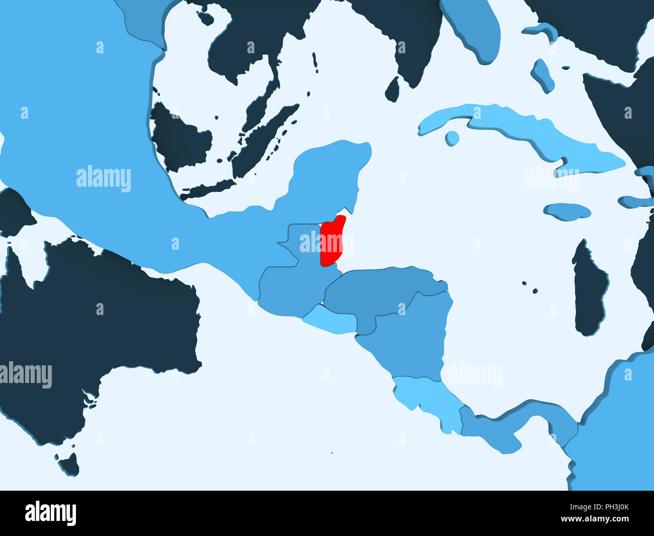 Belize Political Map.Belize In Red On Blue Political Map With Transparent Oceans 3d