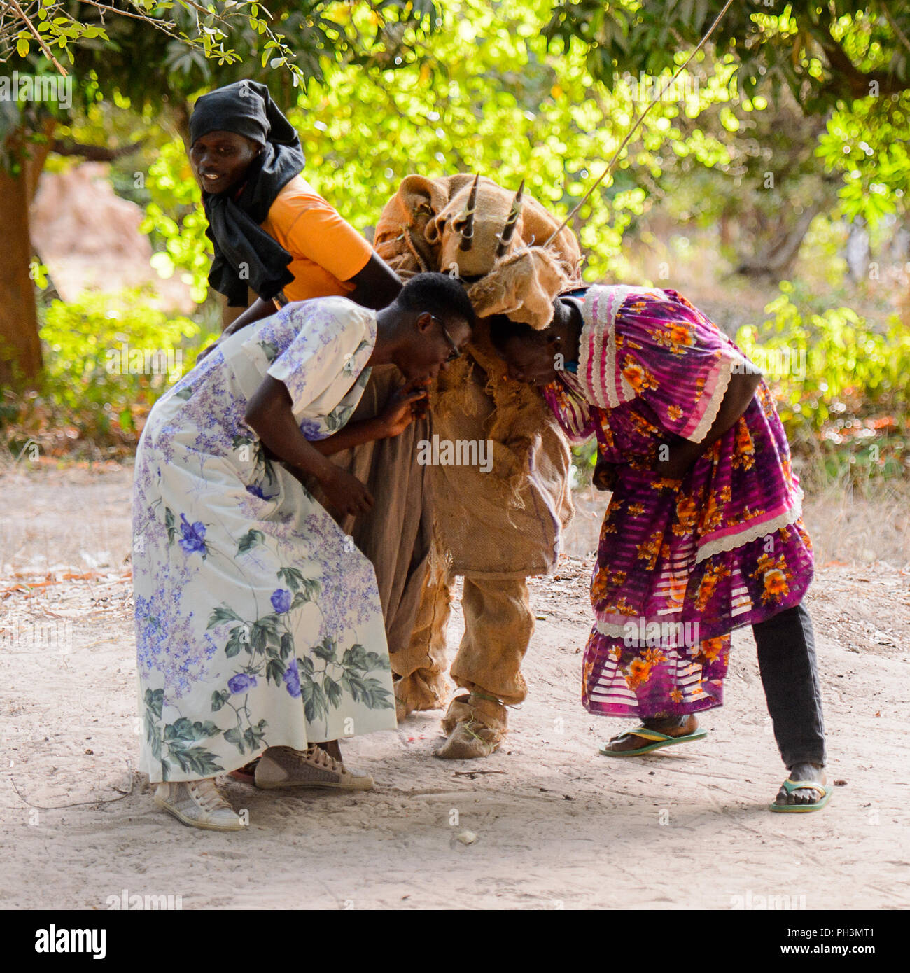 Kaguit vil., SENEGAL - APR 30, 2017: Unidentified Diola men wear skirts and move during a traditional dance Kumpo in a Sacred Forest near Kaguit villa - Stock Image