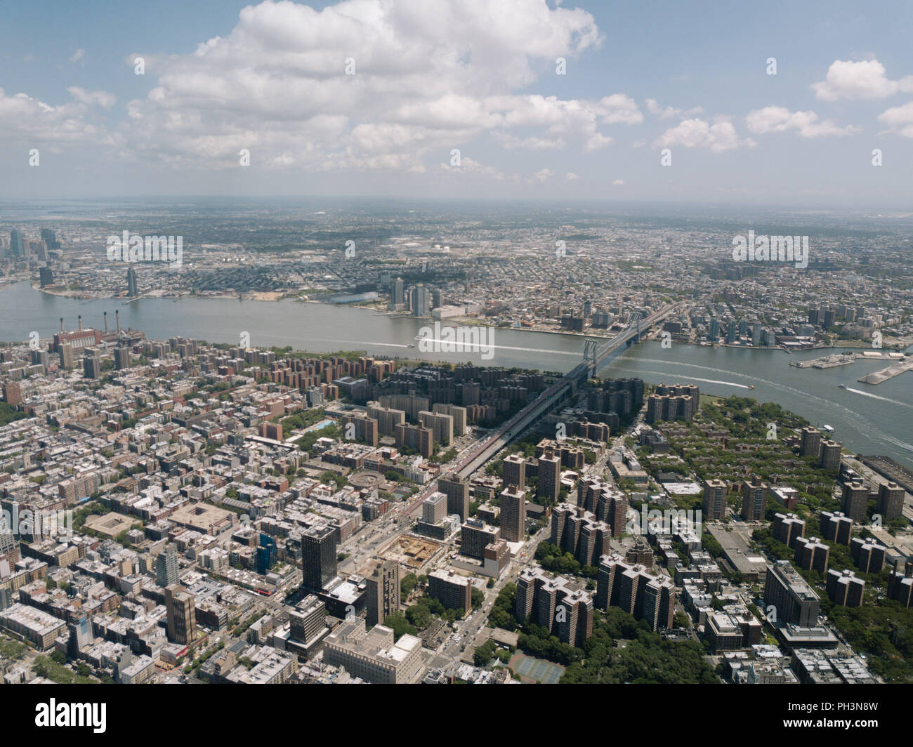 Drone Aerial Shot World Trade Center City View Beautiful NYC New York - Stock Image