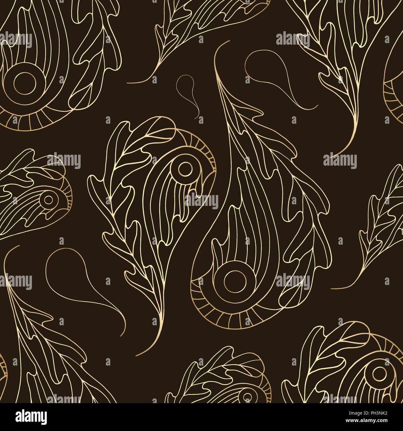 Hand Drawn Paisley Vector Seamless Pattern Gold Abstract Oak Leaves Texture For Wallpaper Wrapping Paper Textile Surface Design Phone Case Print