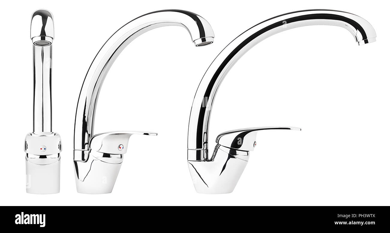 Mixer cold hot water, faucet bathroom, kitchen tap, clipping path, full depth of field - Stock Image