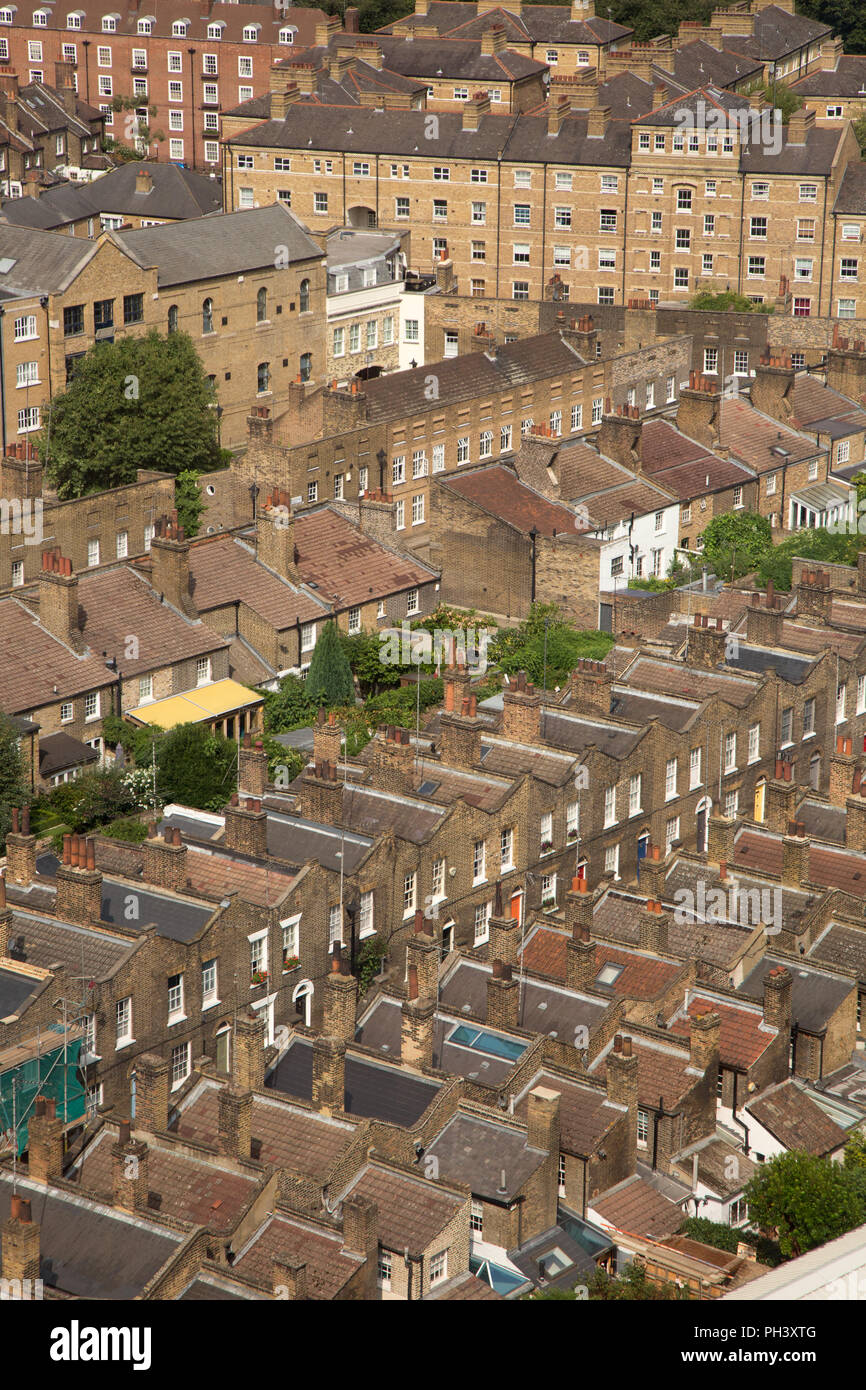 Rows of densely populated housing in Waterloo, Central London - Stock Image