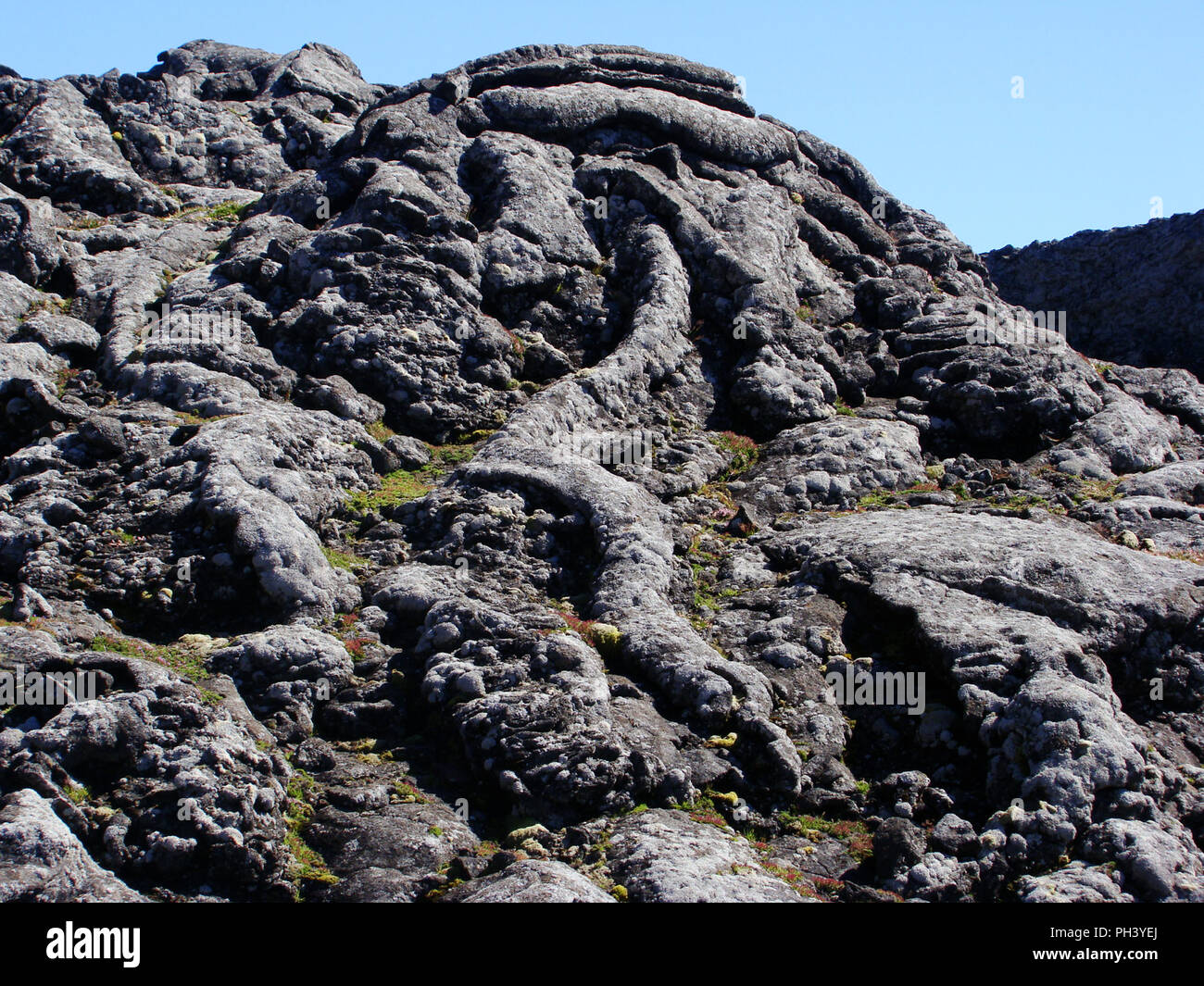 Lava fields at the summit of Pico volcano, in the Azores archipelago (Mid-Atlantic, Portugal) - Stock Image