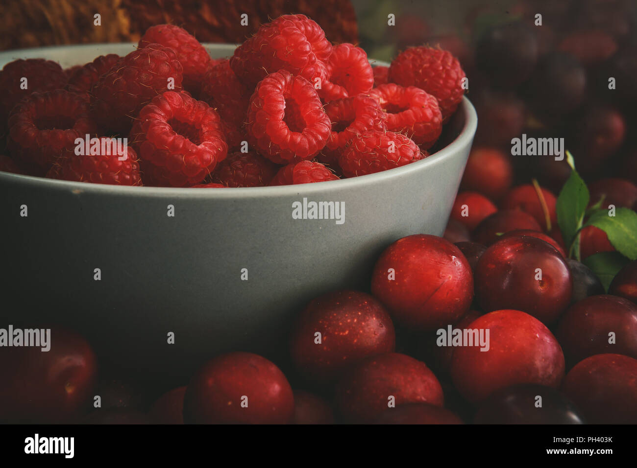 Raspberry and cherry plum - Stock Image