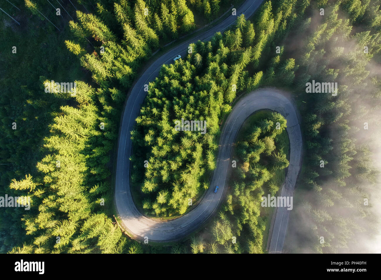 Aerial view of the mountain road - Stock Image
