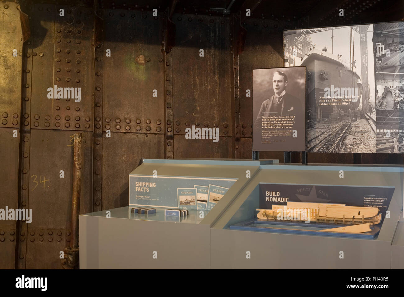 Display of history of the ship's history on board SS Nomadic - Stock Image