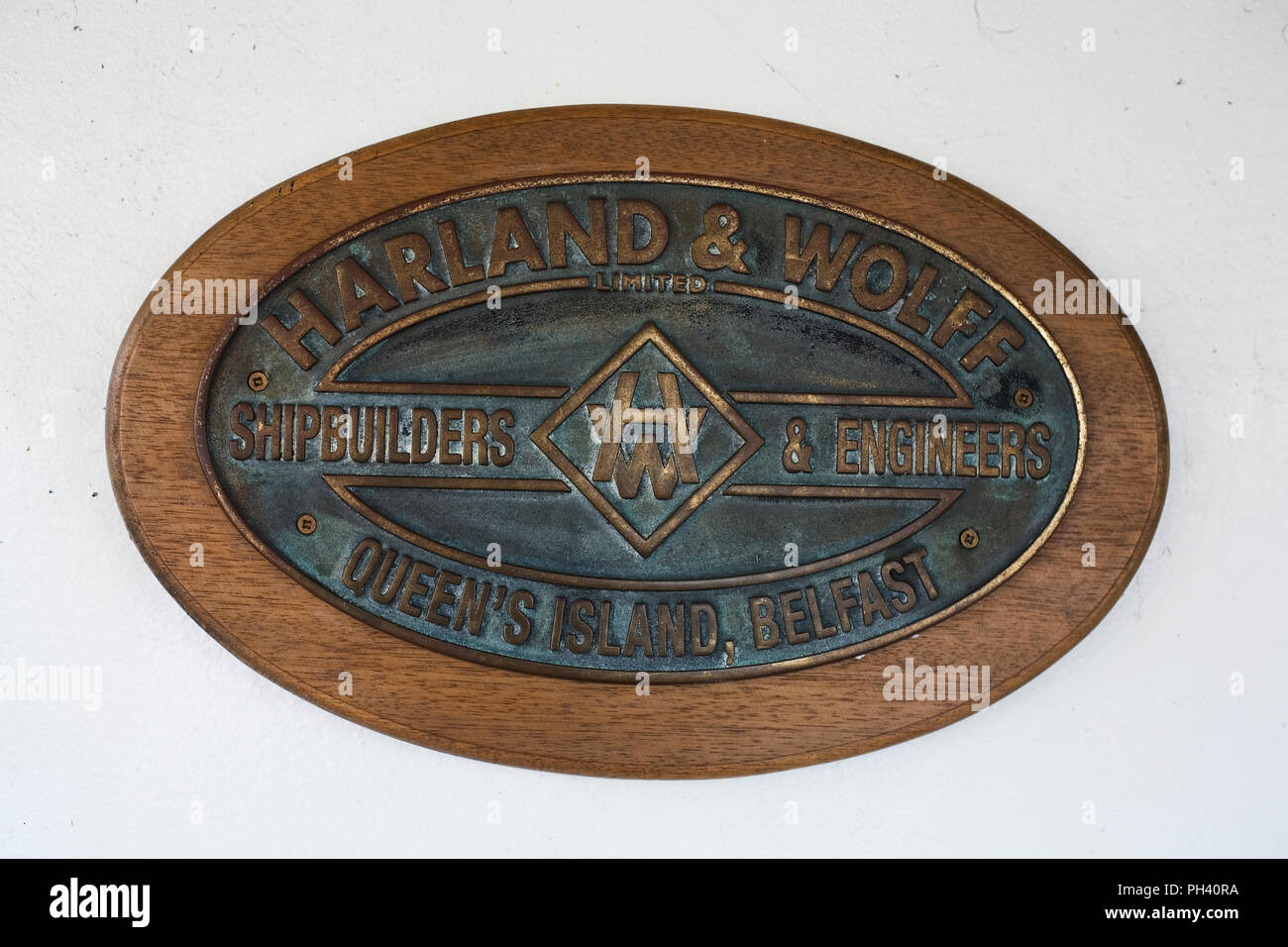 Plaque of Harland and Wolff shipbuilding company on SS Nomadic - Stock Image