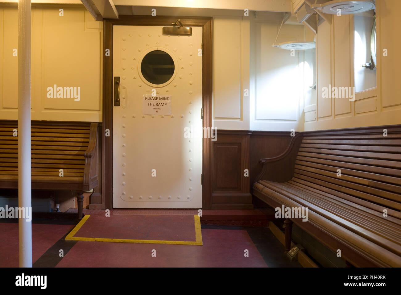 Public cabin on restored SS Nomadic in Belfast - Stock Image