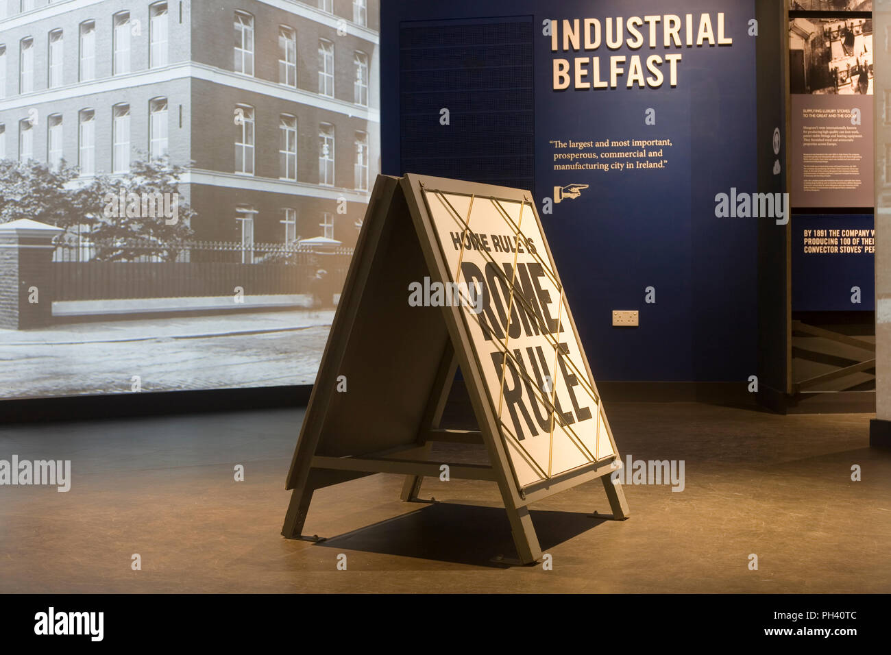 Sign suggesting that home rule (from Dublin) would equate to rule from Rome in Belfast history section of Titanic exhibition - Stock Image