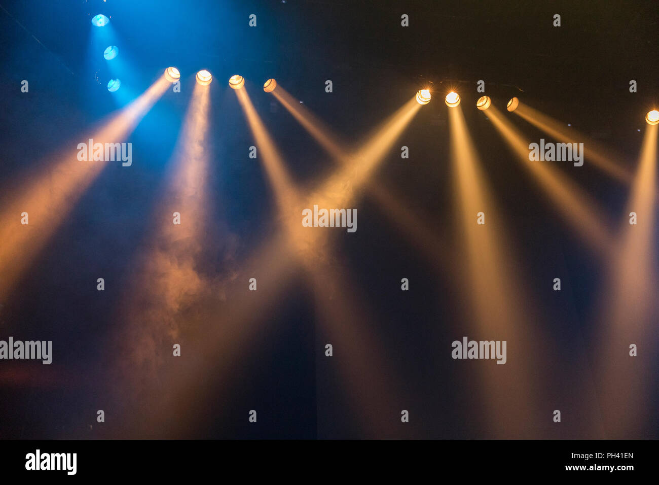 theatre spot lights lighting on stage - Stock Image