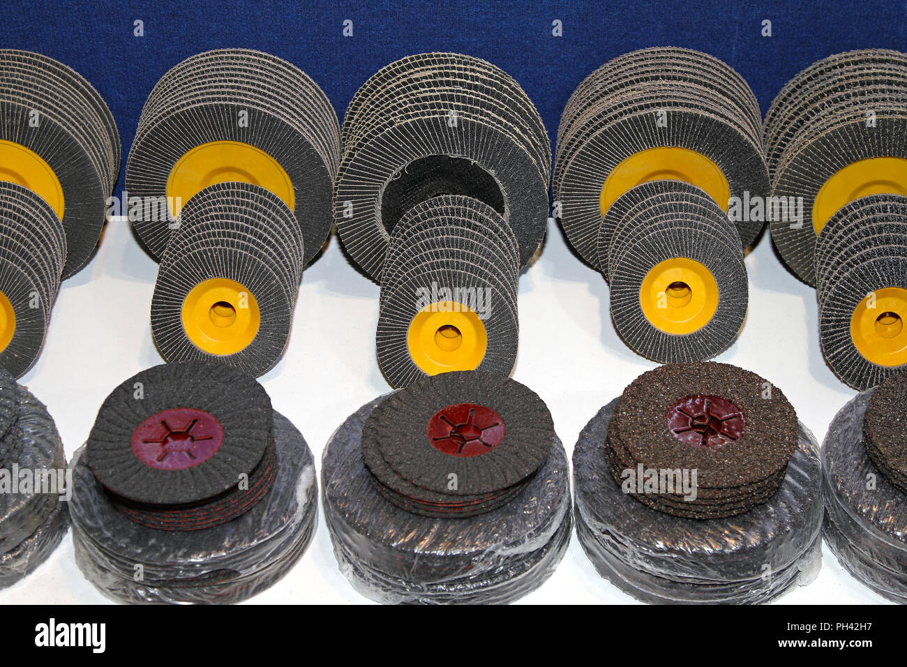 New sanding discs in various dimensions and grades Stock Photo