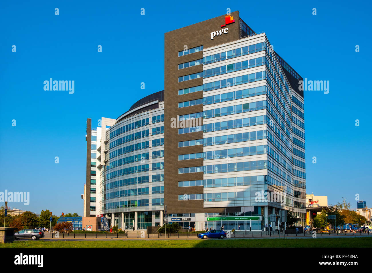 Warsaw, Mazovia / Poland - 2018/08/30: International Business Center building - polish headquarter of the PricewaterhouseCoopers PwC consulting firm - Stock Image