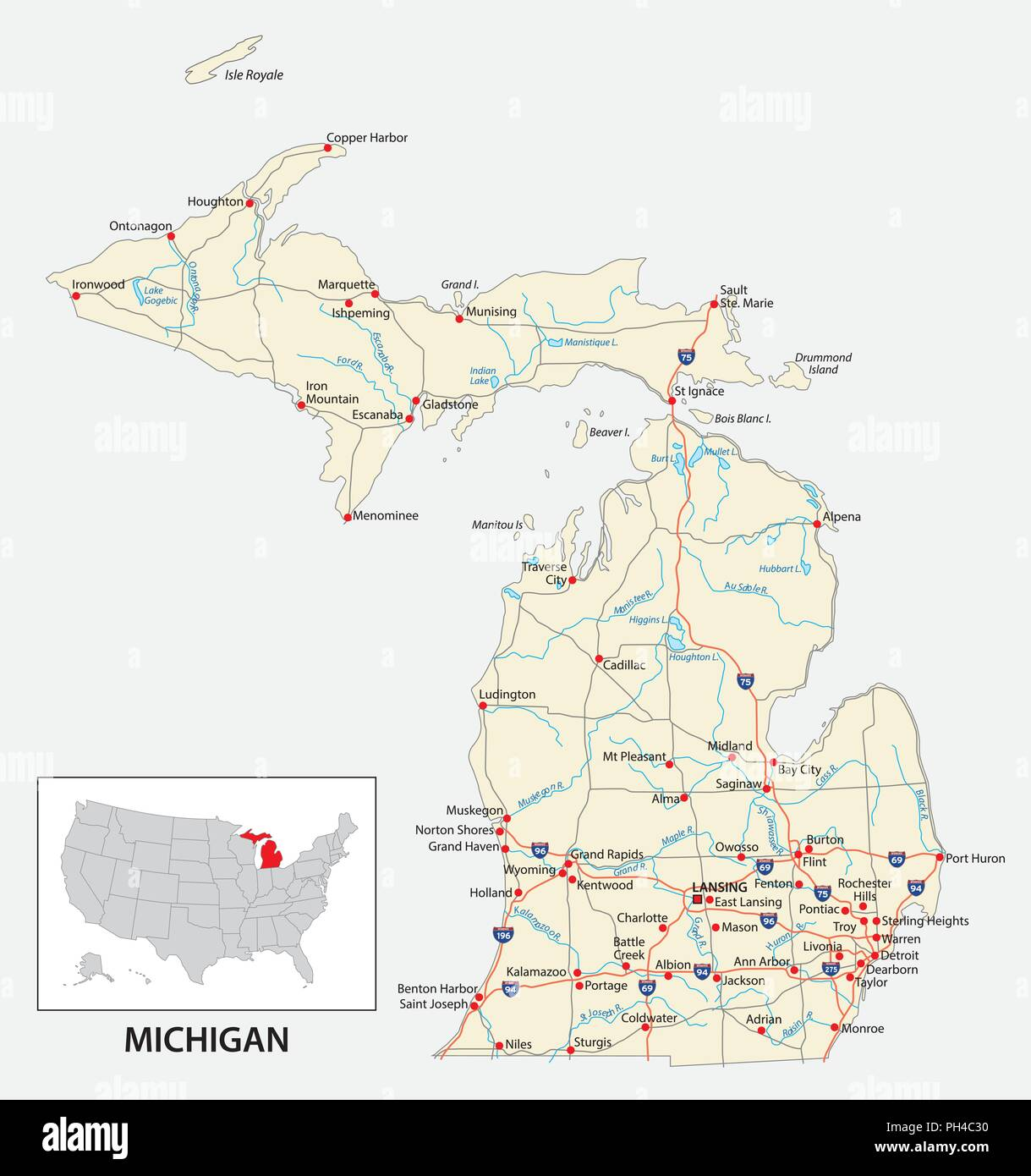 Road Map Of The Us American State Of Michigan Stock Vector Art