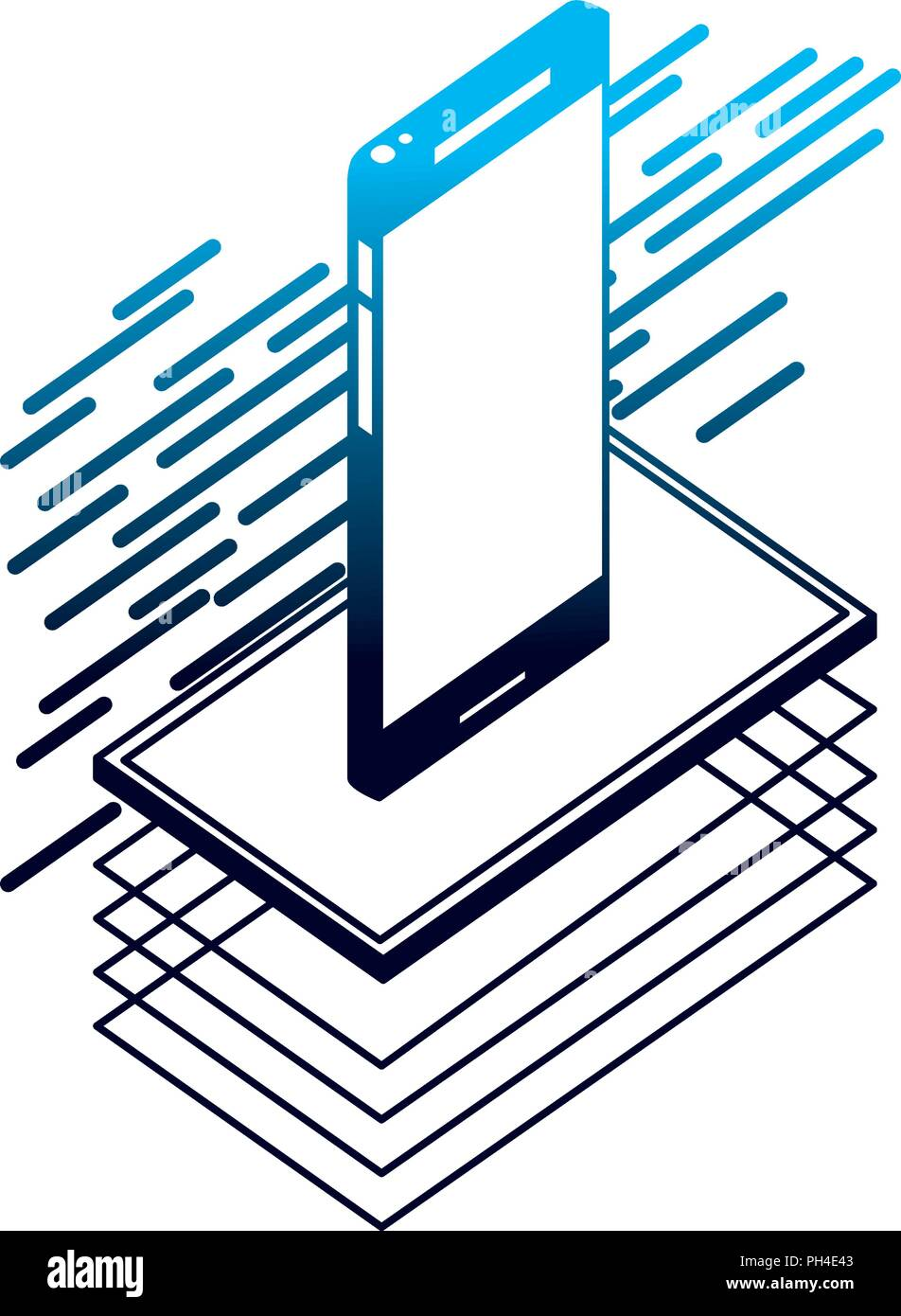 smartphone isometric device digital technology - Stock Image