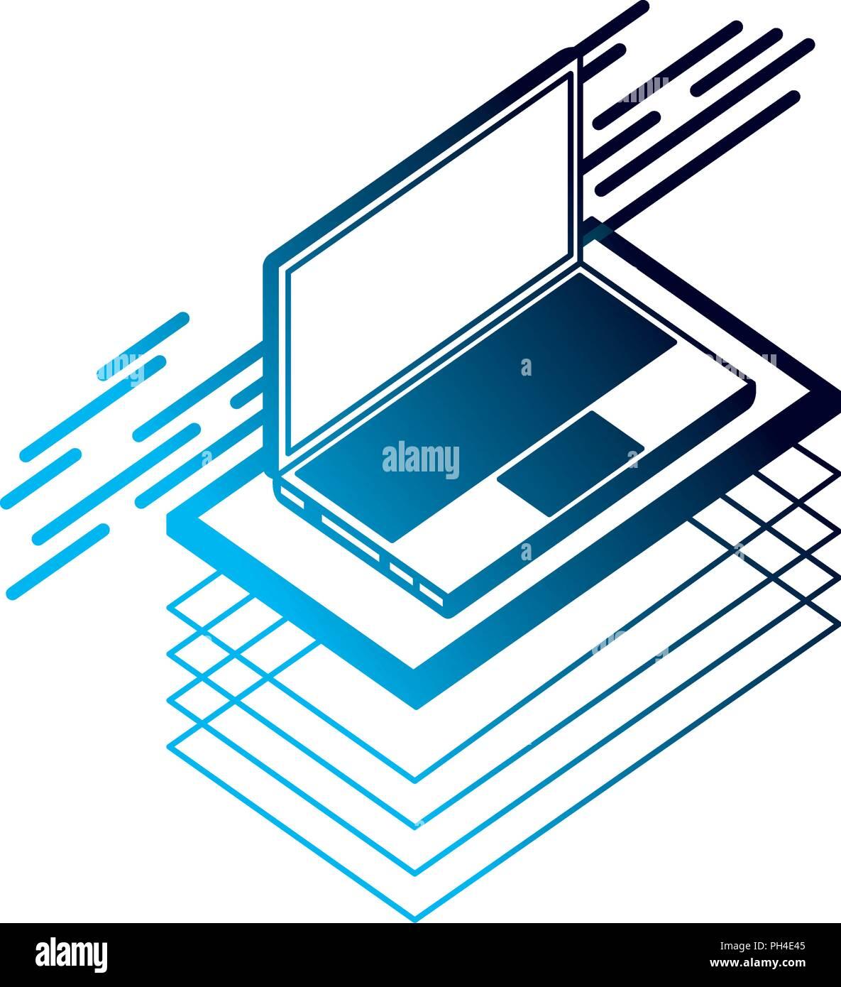 laptop computer isometric device digital technology - Stock Image