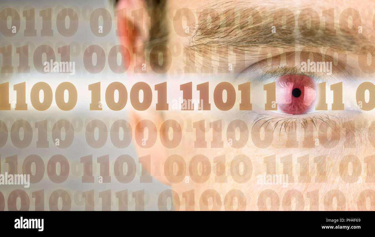 Computer Screen Code Stock Photos Circuit Board And Binary Vector Clipart Transmission Of With Close Up Human Eye In The Background Image