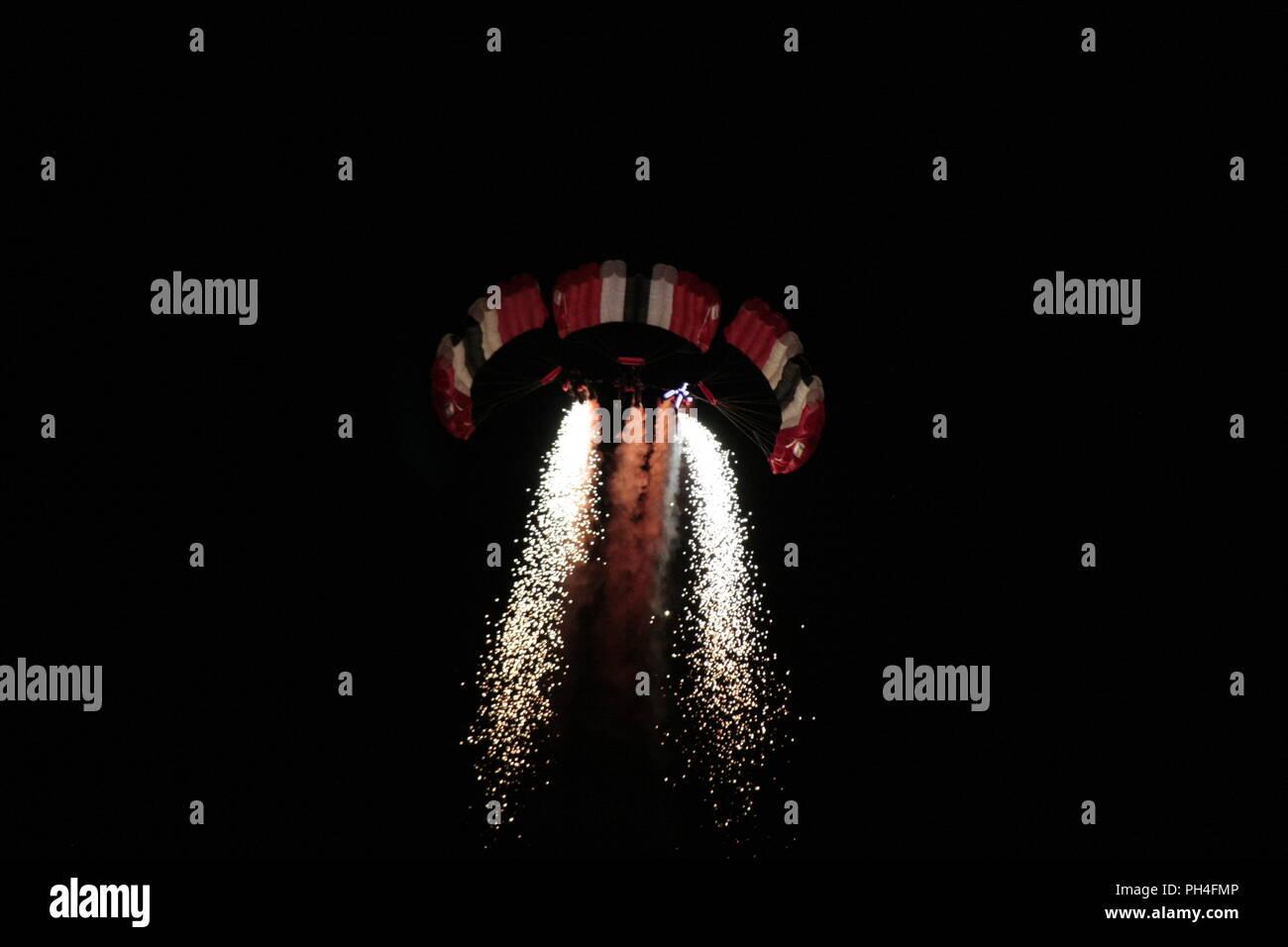 night parachuting - Stock Image