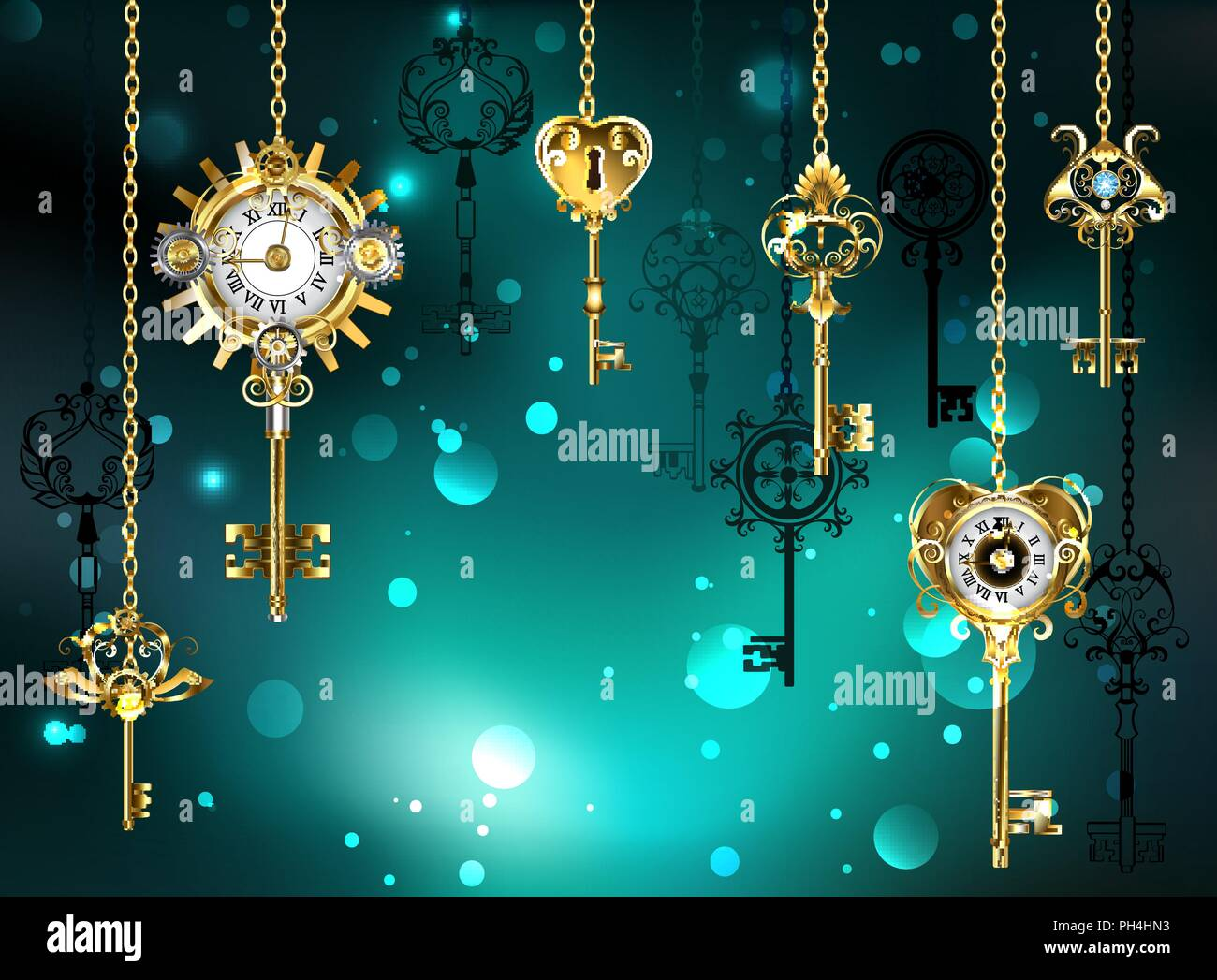 Gold, antique keys with gears and dials hang on gold chains on  luminous green background. - Stock Vector