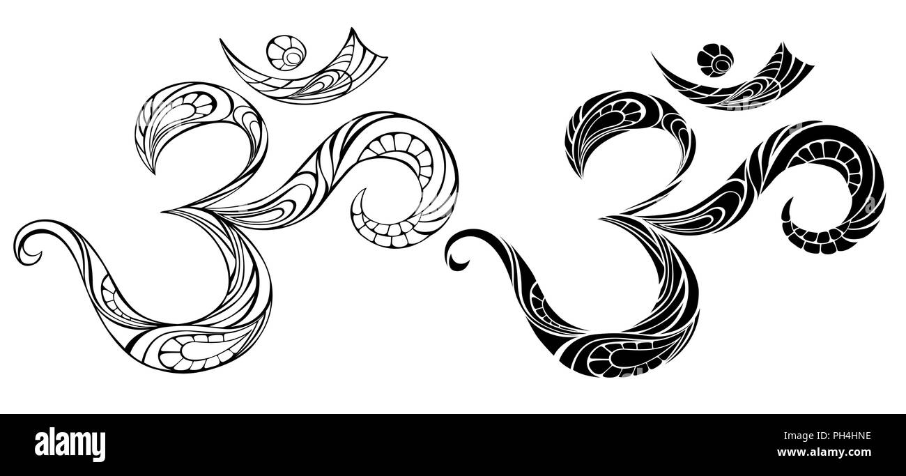 An artistically drawn, contour, patterned Om symbol on white background. - Stock Vector