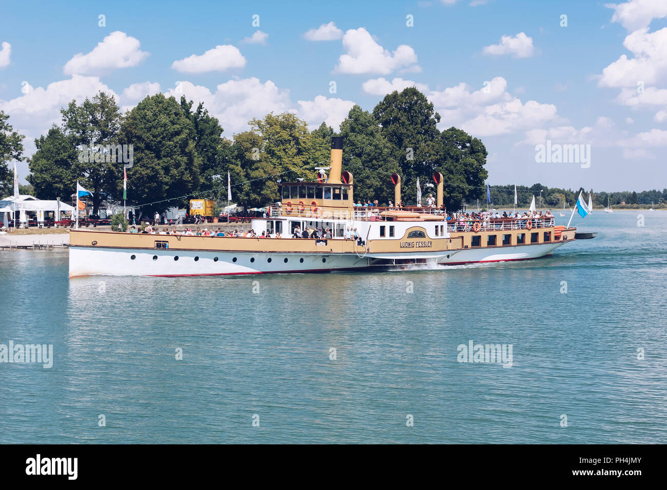 Herreninsel - AUG 2013 - GERMANY - Tourist boat on the Chiemsee lake - Herrenchiemsee. - Stock Image