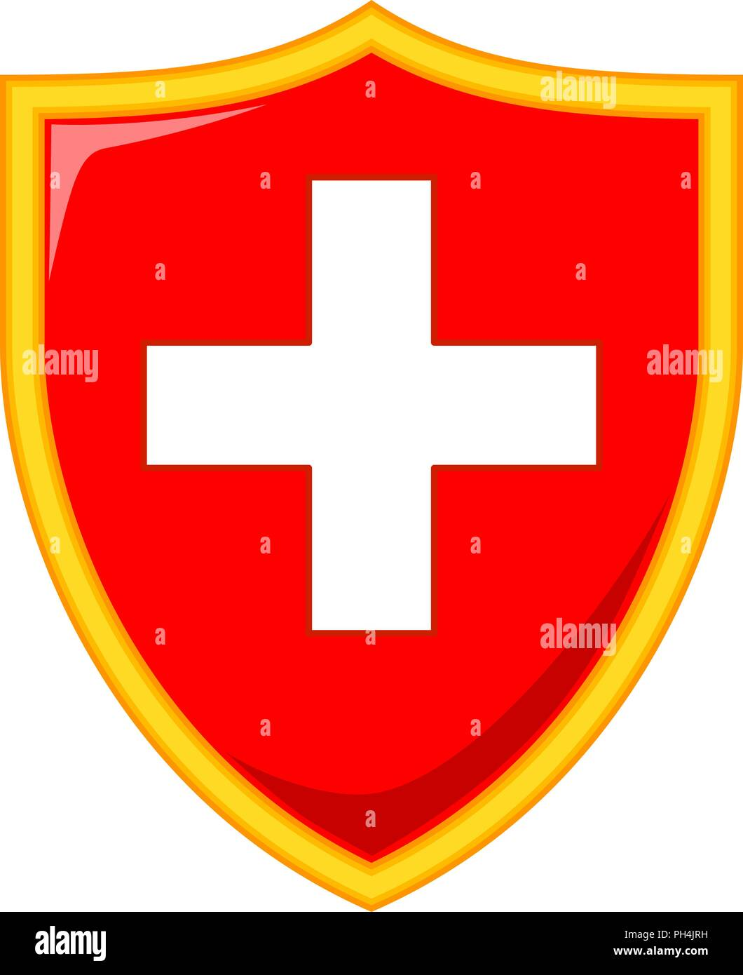 Colorful cartoon shield with medical cross - Stock Vector