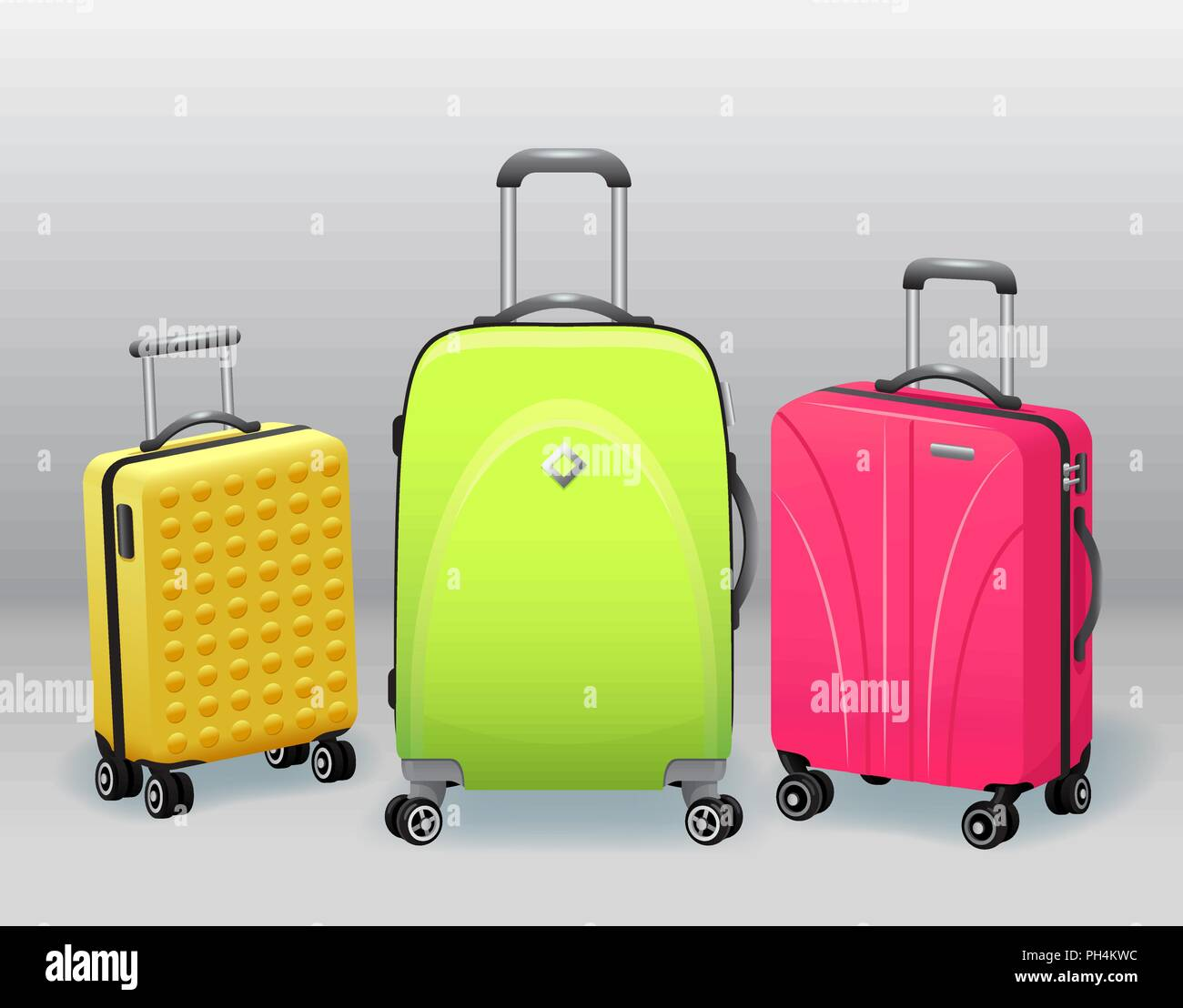 25962fde82 Business and family vacation travel luggage with handbag baggage modern and  retro items collection realistic vector illustration