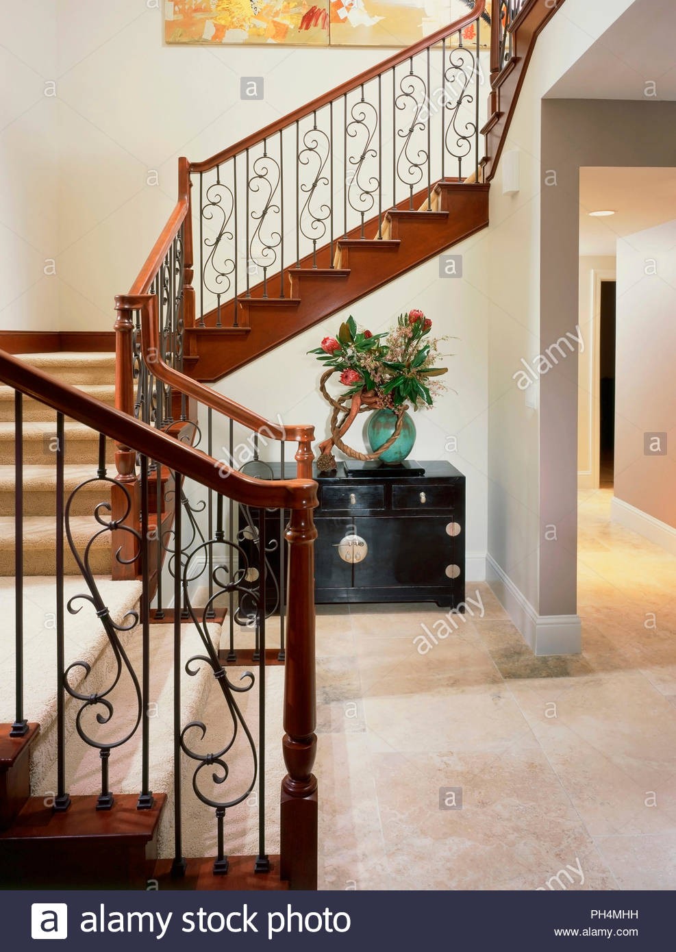 Carpeted staircase - Stock Image