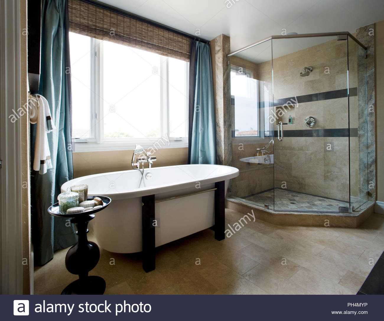 Bath and shower in bathroom - Stock Image