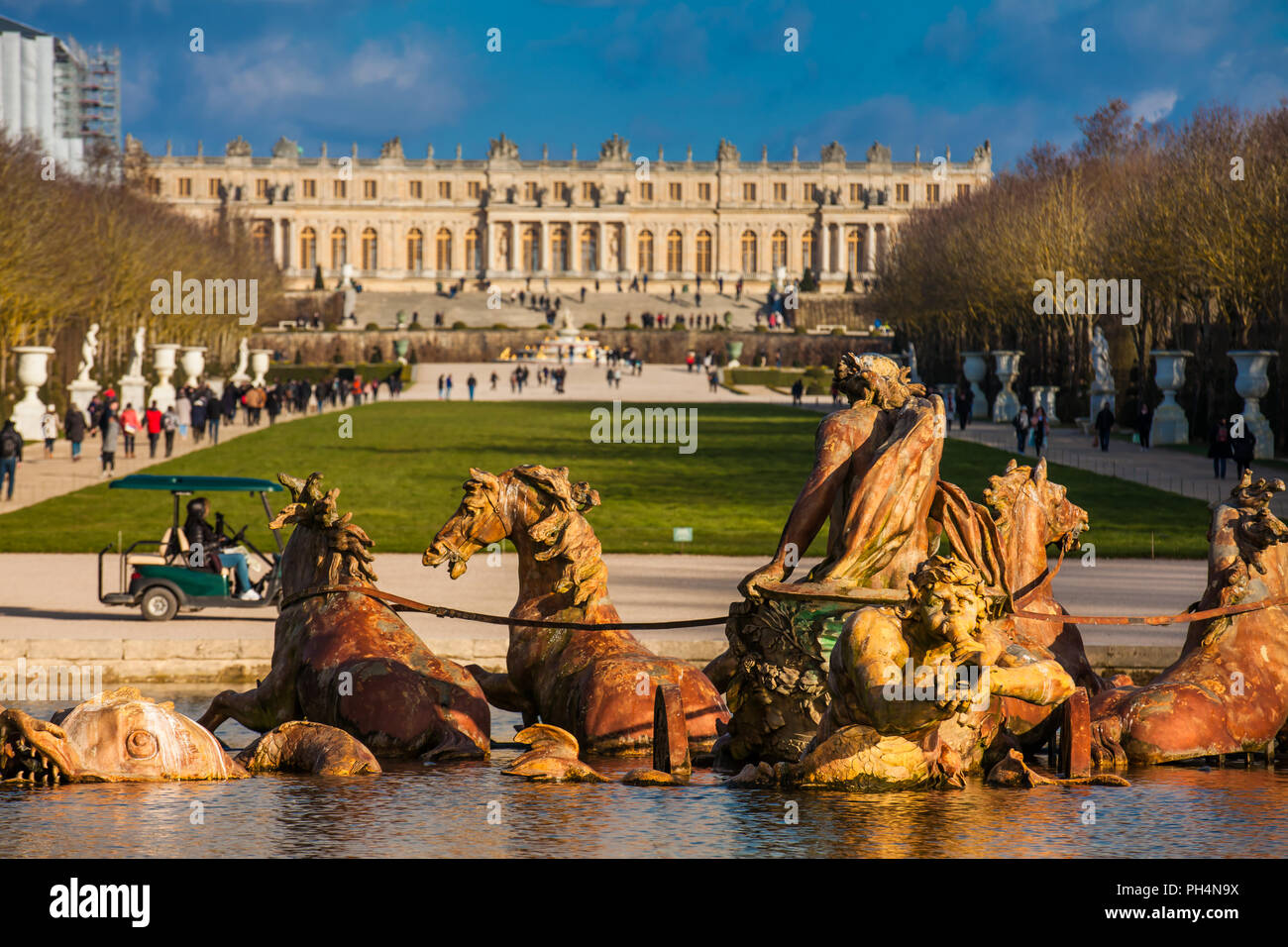 Fountain of Apollo at the garden of the Versailles Palace in a freezing winter day just before spring Stock Photo