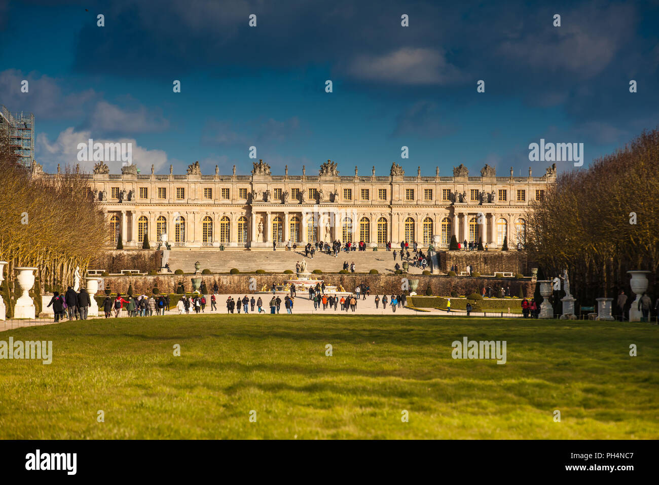 Garden of the Versailles Palace in a freezing winter day just before spring - Stock Image