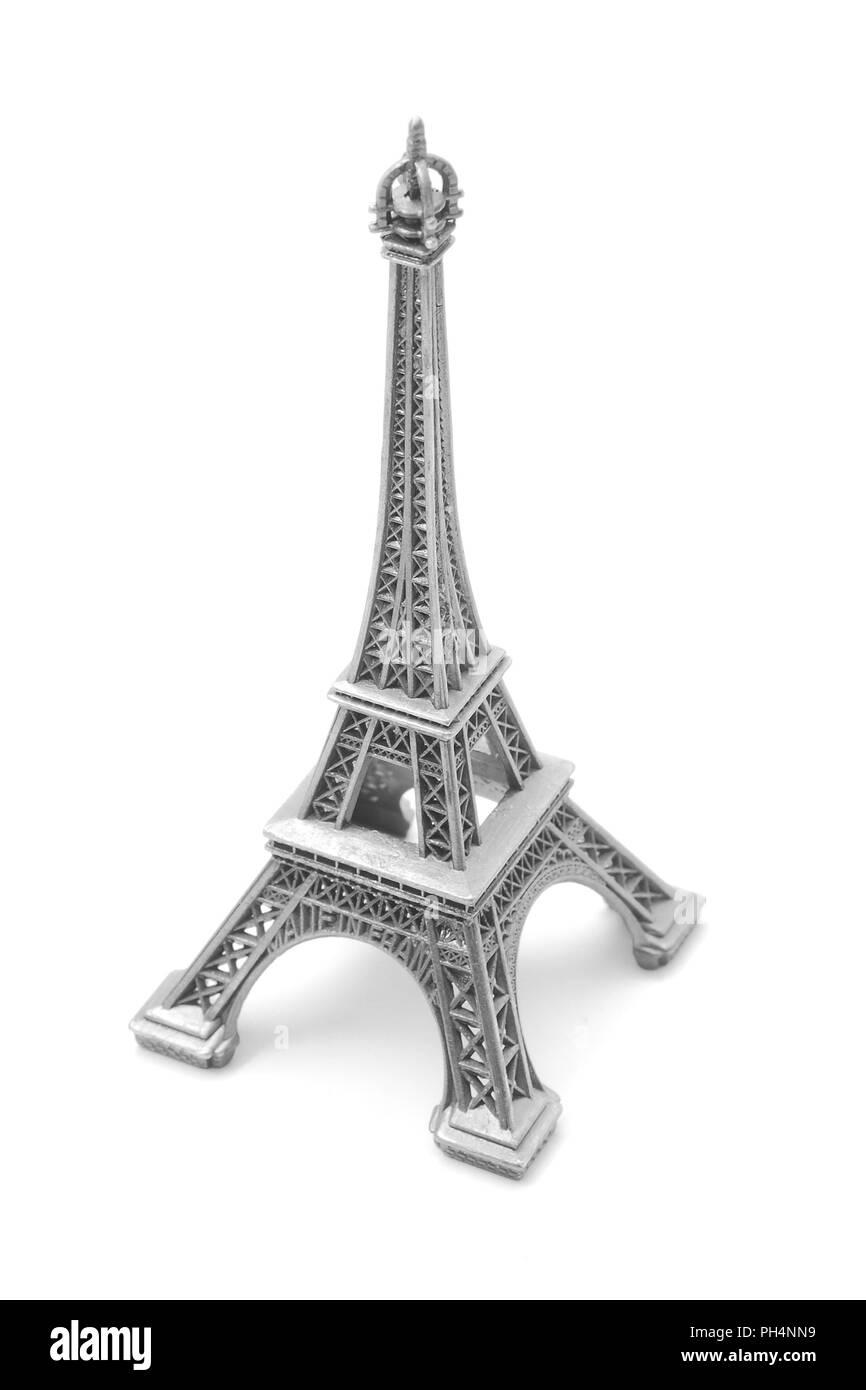 eiffel tower, miniature souvenir isolated on white Stock Photo