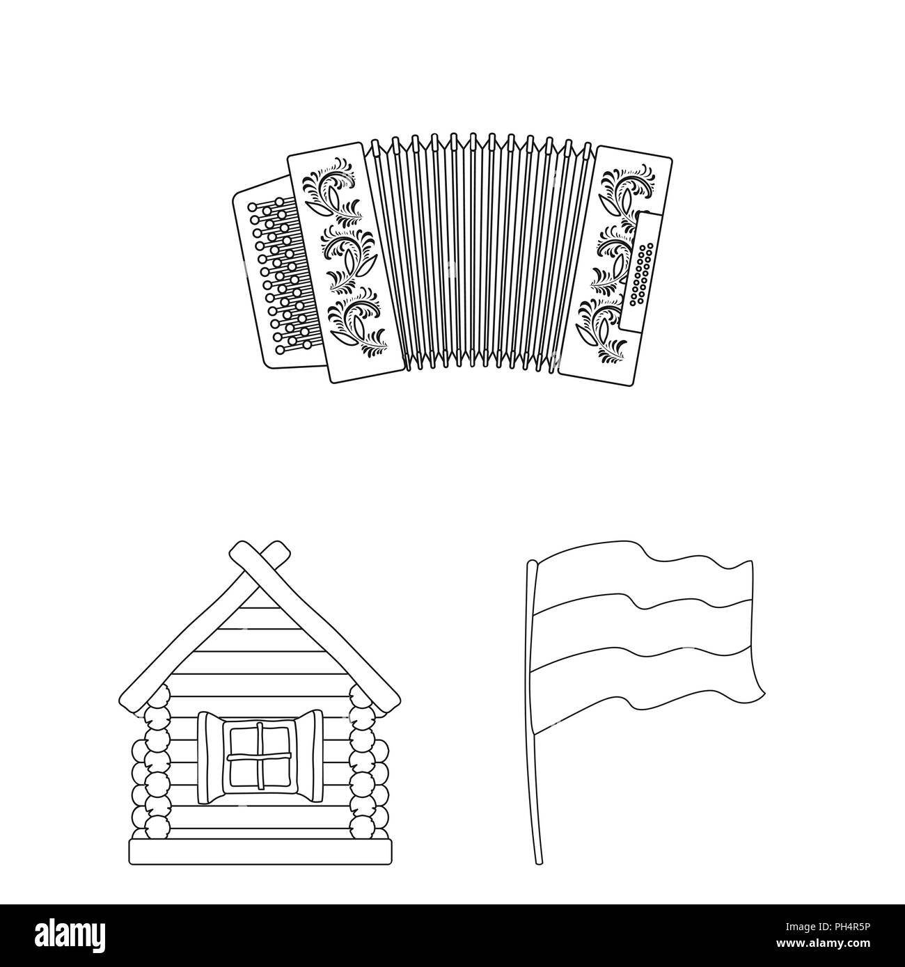Country Russia, travel outline icons in set collection for design. Attractions and features vector symbol stock  illustration. - Stock Vector
