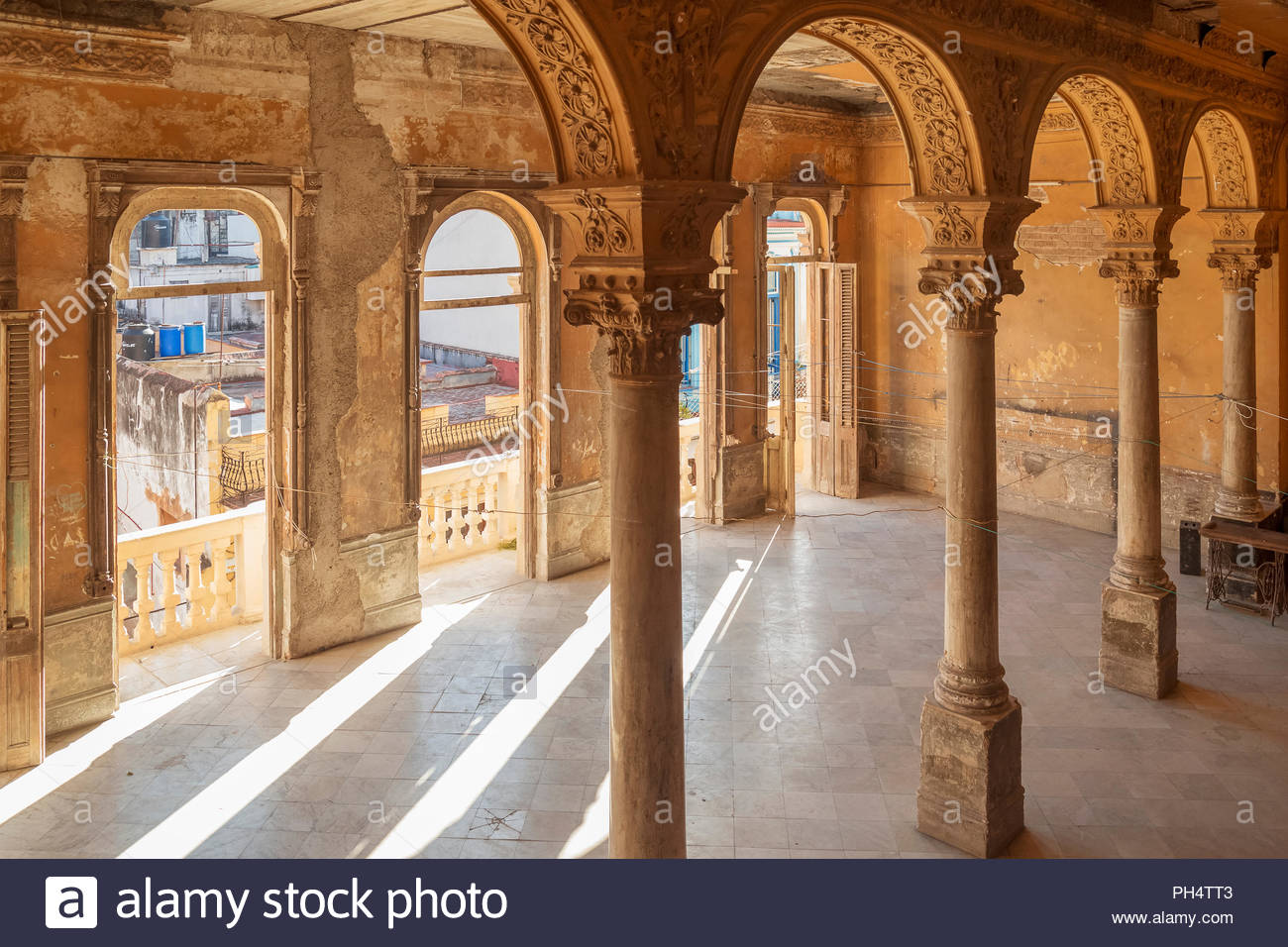 Colonnade in La Guarida Paladar in Havana - Stock Image