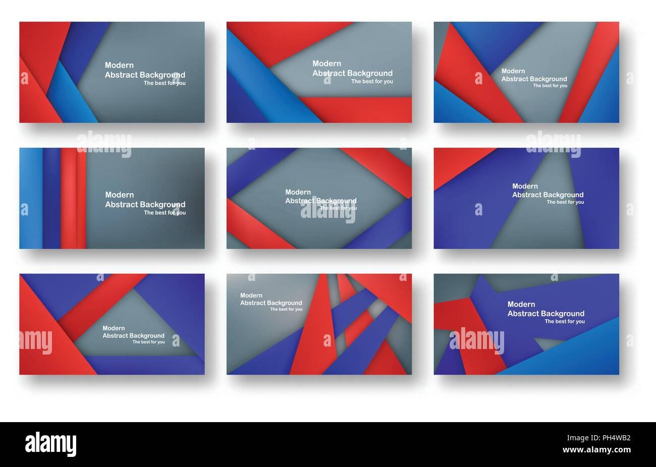 Abstract Red And Blue Material Design On Grey Background For