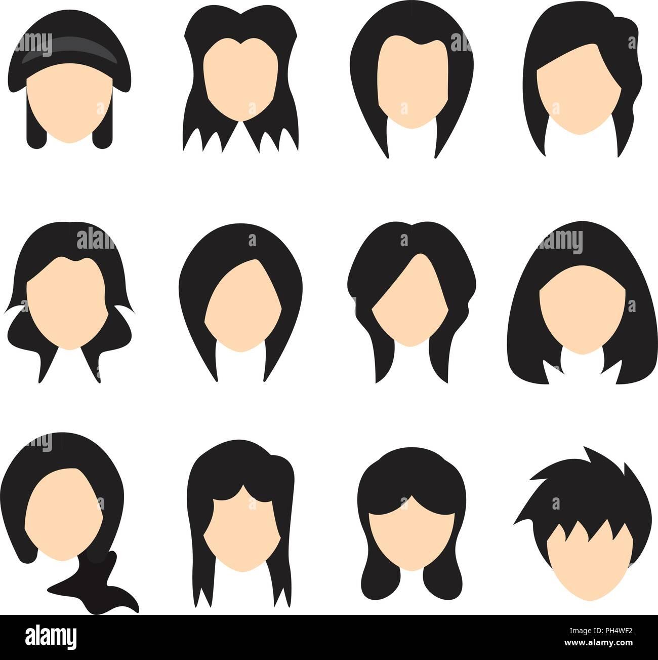Vector Illustration Of Hair Styles For Women Flat Design Stock