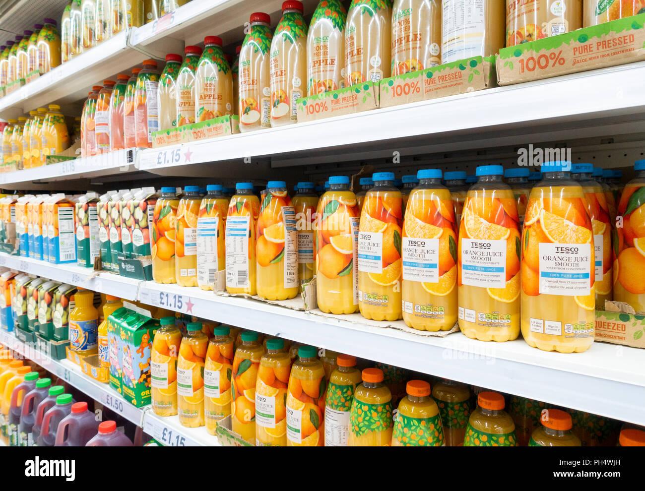 Tesco 100% fresh Orange juice in Tesco supermarket. UK Stock Photo - Alamy