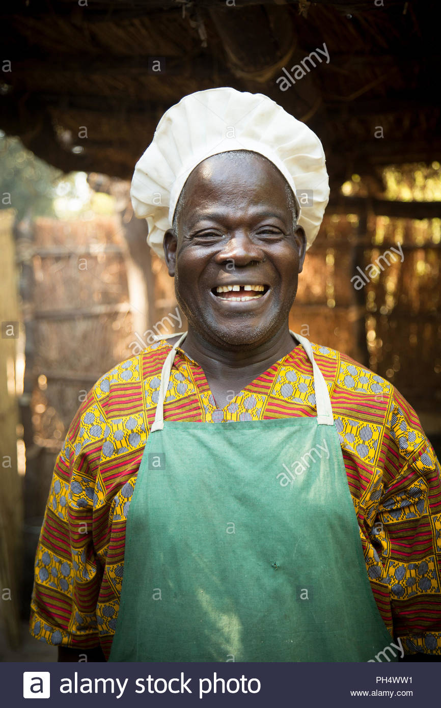 Portrait of chef at safari camp in South Luangwa National Park, Zambia - Stock Image