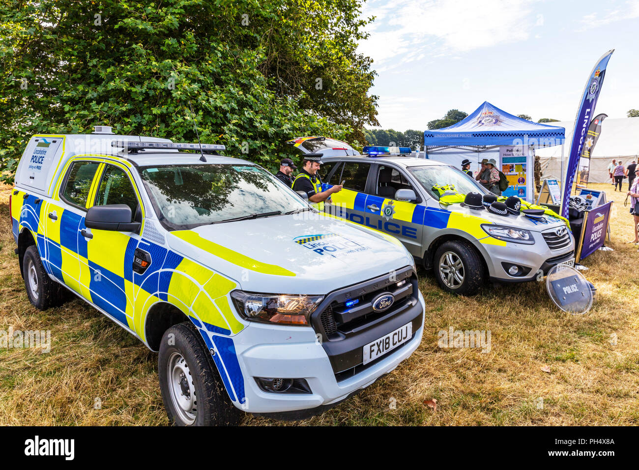 Police cars, police vehicles UK, UK police cars, UK police vehicles, marked police cars, UK, England, Lincolnshire police, policing, cars, car vehicle - Stock Image