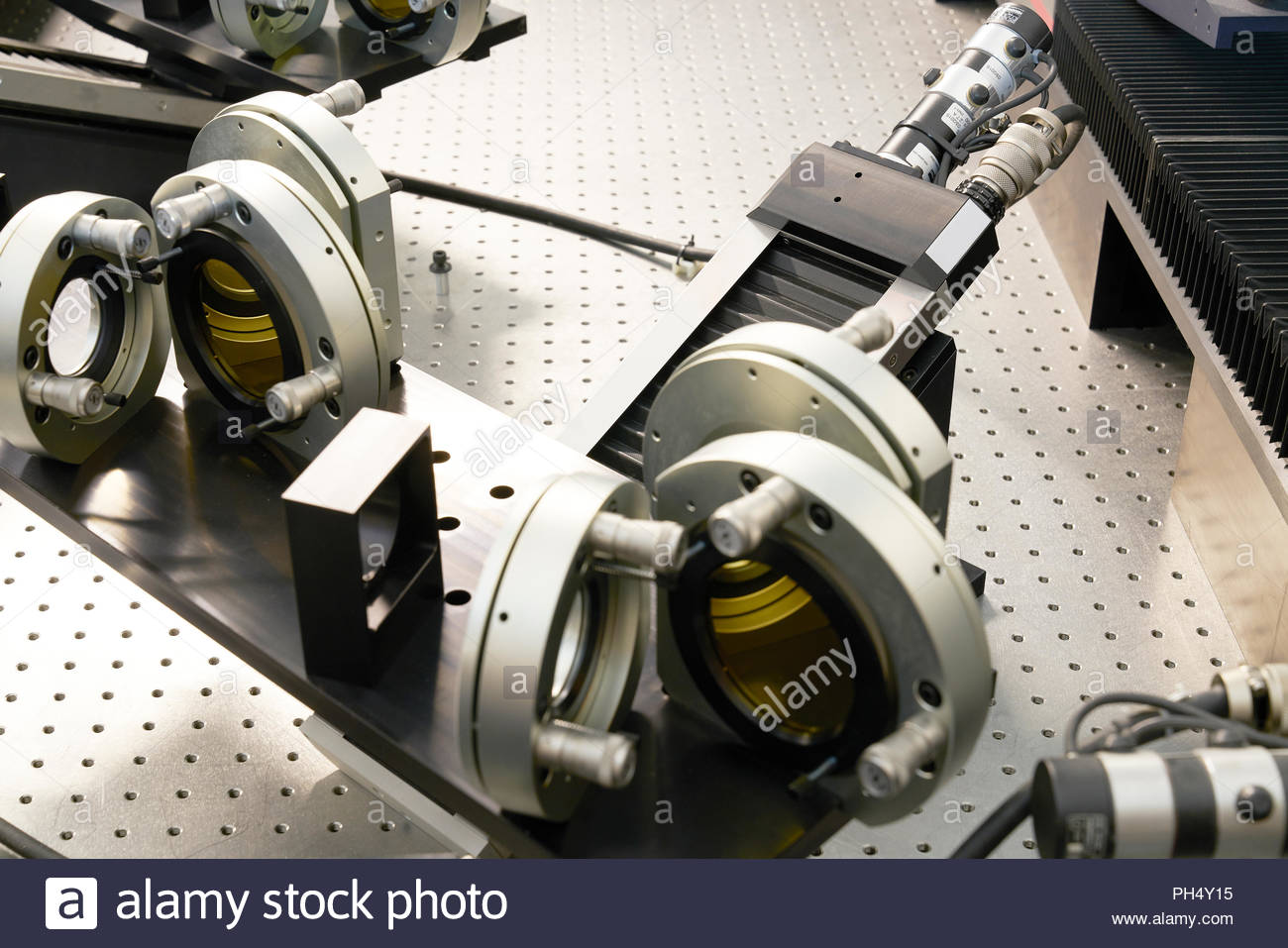 Machine parts in a workshop at Paranal Observatory - Stock Image