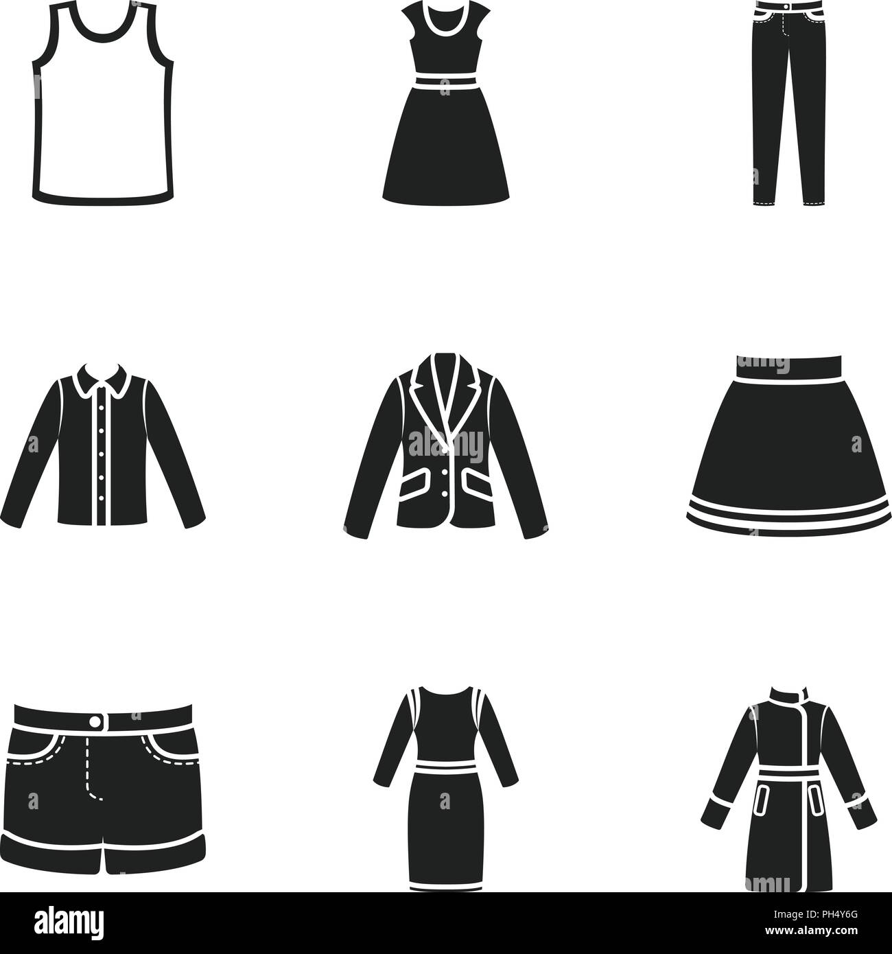 Clothes set icons in black style. Big collection of clothes vector symbol stock - Stock Vector